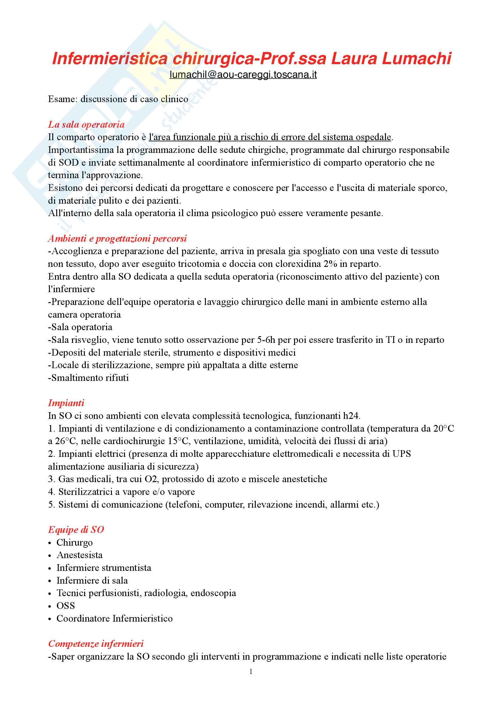 Infermieristica Chirurgica-Appunti Completi
