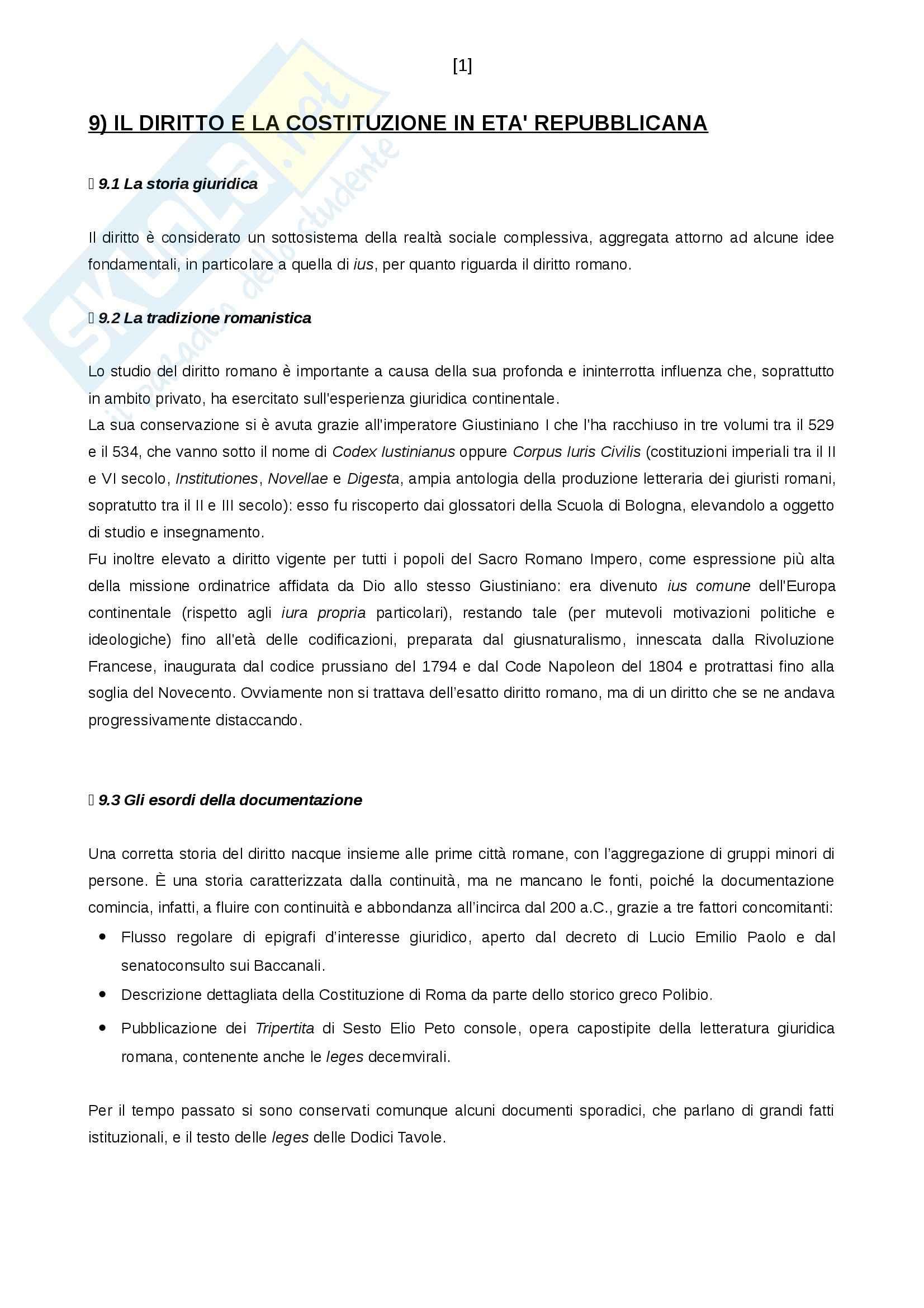Riassunto esame Diritto romano, prof. Calore, libro consigliato Il diritto e la costituzione in età repubblicana, LED