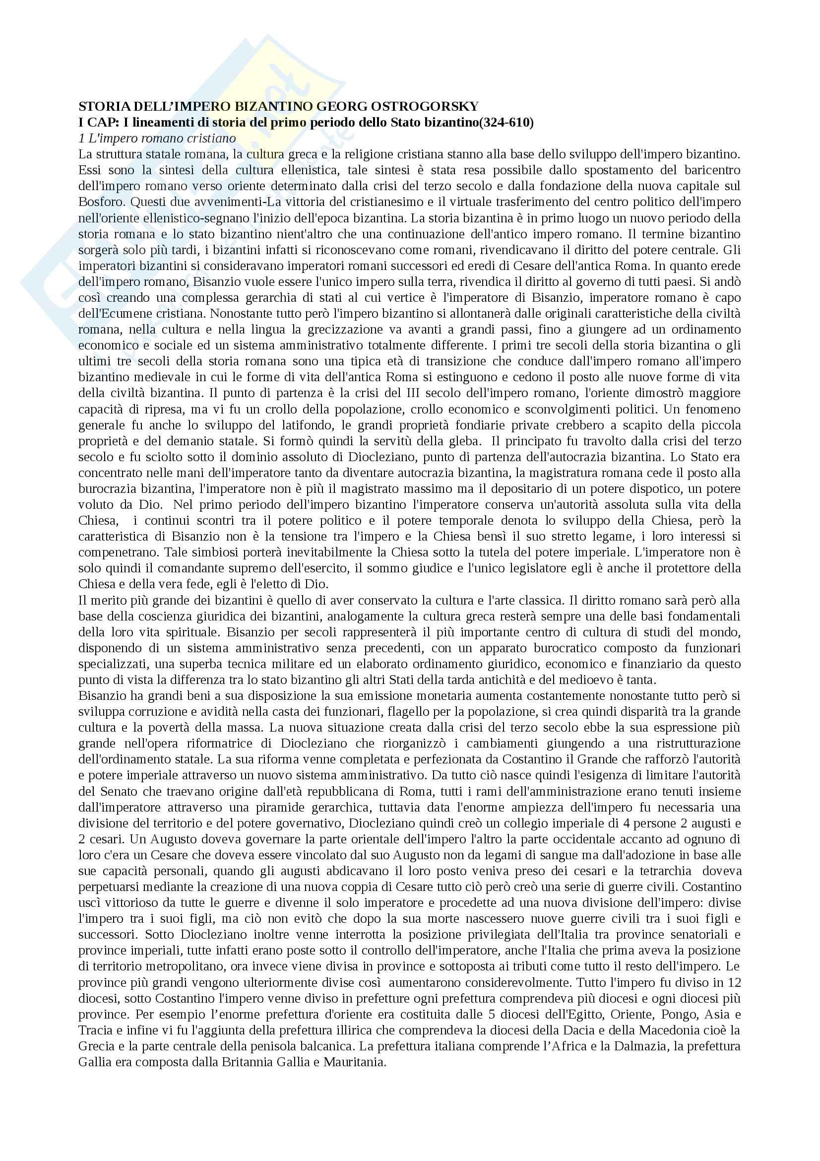 Riassunto esame materia Civiltà bizantina, docente marco di branco, libro consigliato Storia dell'impero bizantino, autore Georg Ostrogorsky