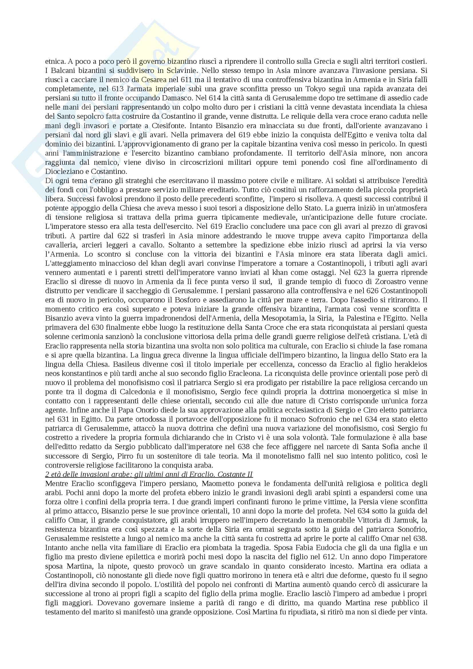 Riassunto esame materia Civiltà bizantina, docente marco di branco, libro consigliato Storia dell'impero bizantino, autore Georg Ostrogorsky Pag. 6