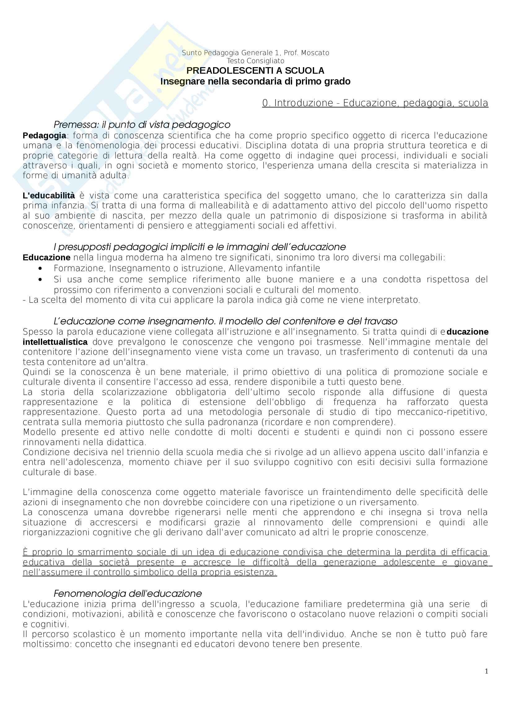 Riassunto esame Pedagogia Generale, Prof. Moscato, libro consigliato Preadolescenti a Scuola, Moscato