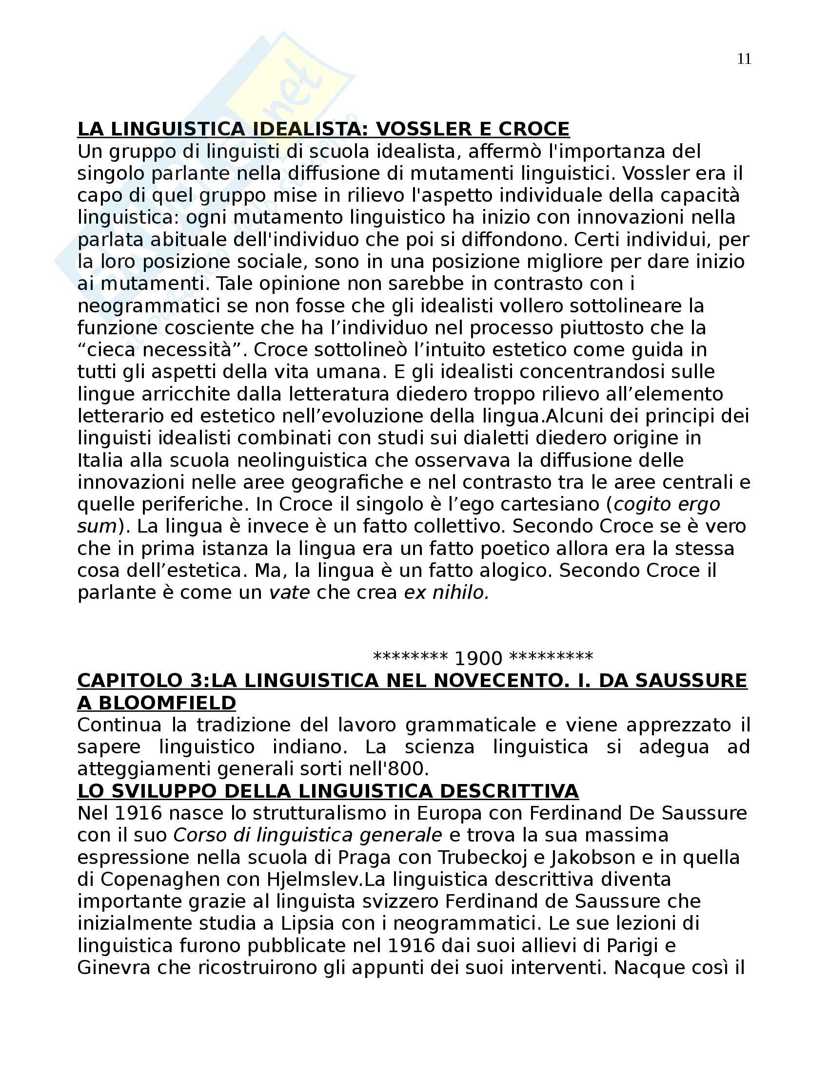 Riassunto esame Linguistica Generale, prof. Assenza, libro consigliato La Linguistica Moderna, Robins Pag. 11