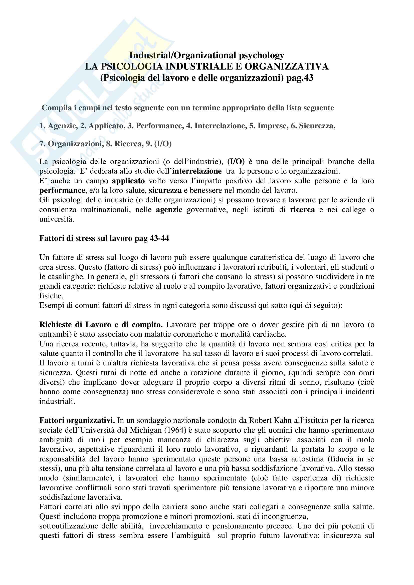 Appunti di Lingua inglese per la psicologia da pag.43 a 67, Prof.ssa Clara Paola Leotta, libro consigliato English for psychological studies Simona Porro