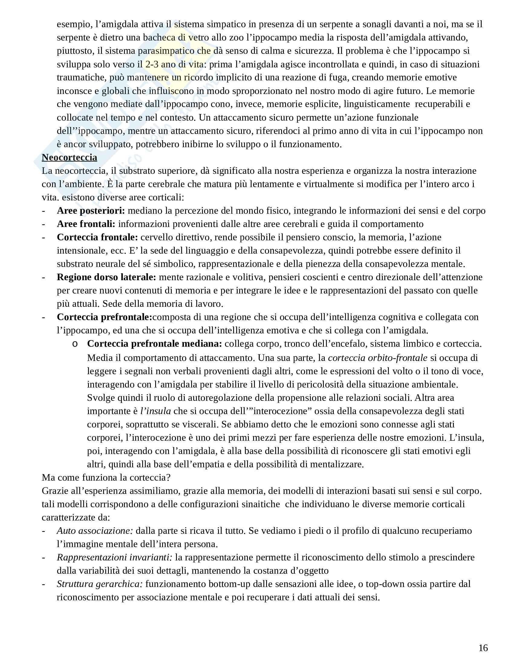 Riassunto esame Psicologia Dinamica Avanzata, prof. Amadei, libro consigliato Psicoterapia e Teoria dell'Attaccamento, Wallin Pag. 16