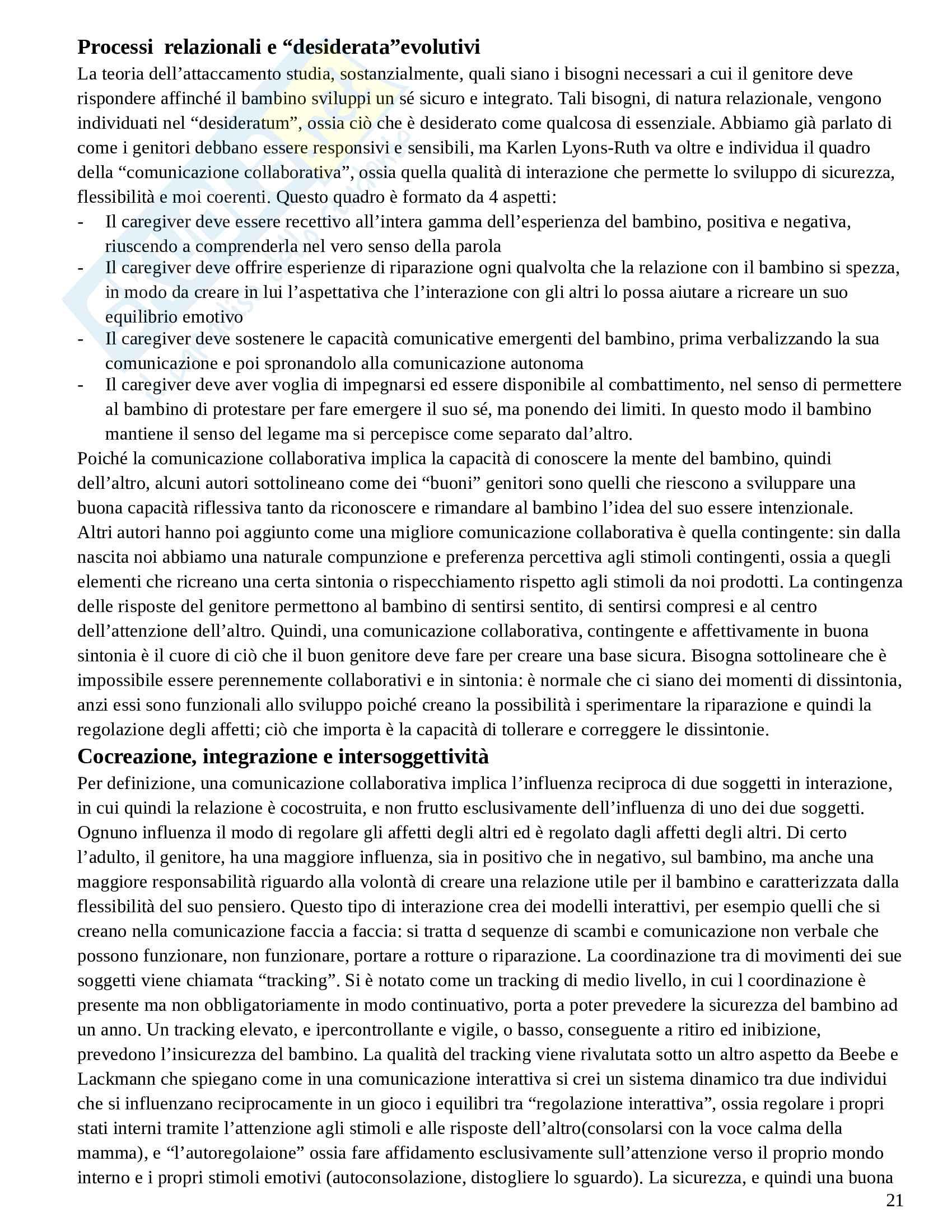 Riassunto esame Psicologia Dinamica Avanzata, prof. Amadei, libro consigliato Psicoterapia e Teoria dell'Attaccamento, Wallin Pag. 21
