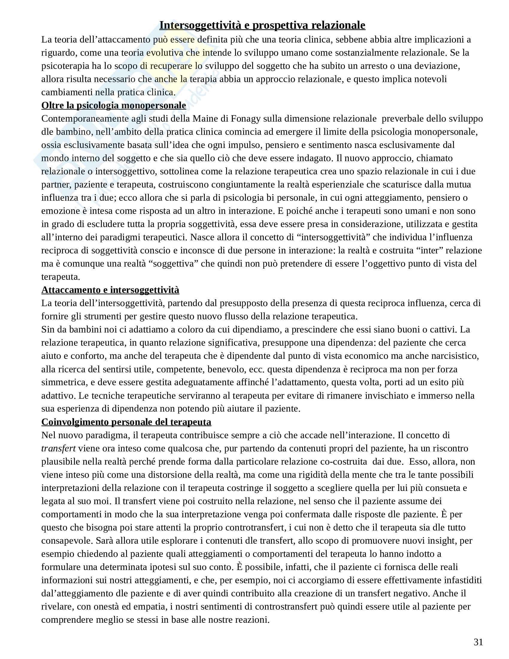 Riassunto esame Psicologia Dinamica Avanzata, prof. Amadei, libro consigliato Psicoterapia e Teoria dell'Attaccamento, Wallin Pag. 31