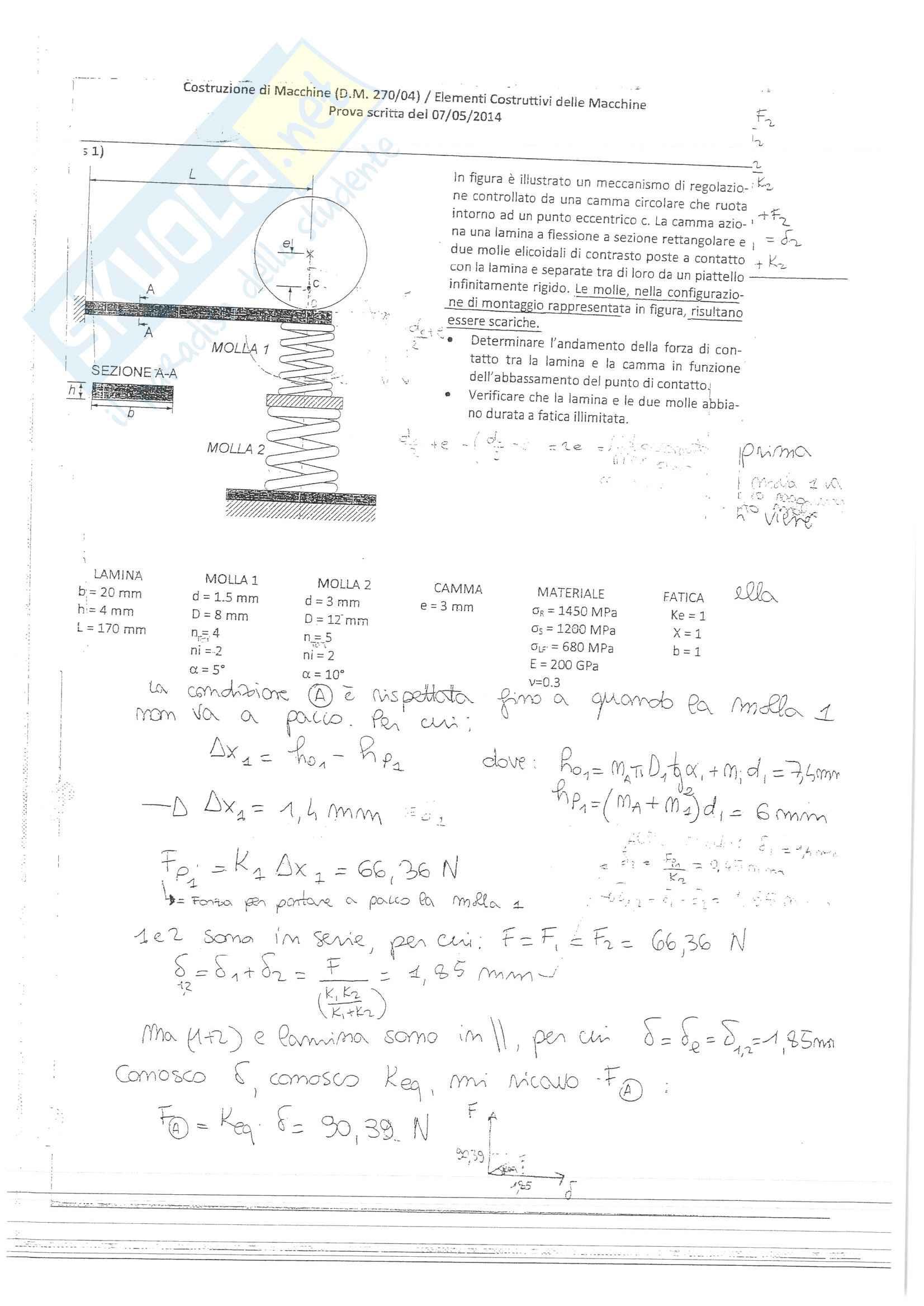 Esercizi svolti esame Costruzione di Macchine, prof. Amodio, libro consigliato Progetto e costruzione di Macchine, Shigley Pag. 21