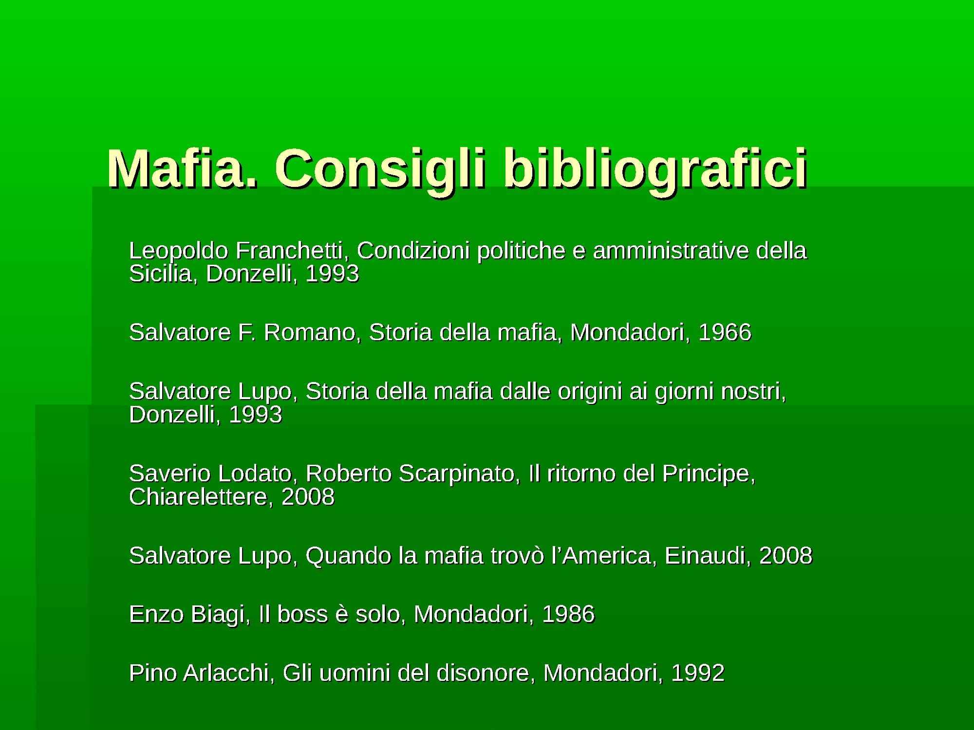 Bibliografia sulla mafia