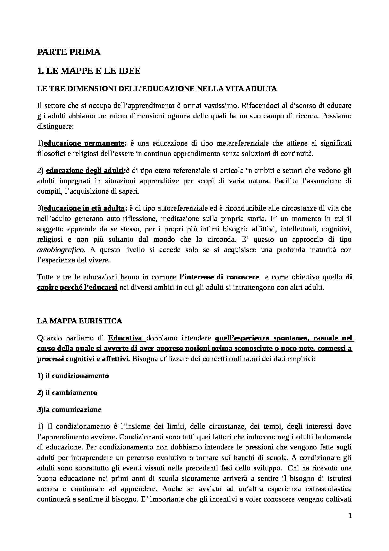 Riassunto esame Educazione degli Adulti, prof. D'Arcangelo, libro consigliato Manuale di Educazione degli Adulti, Demetrio - parte prima