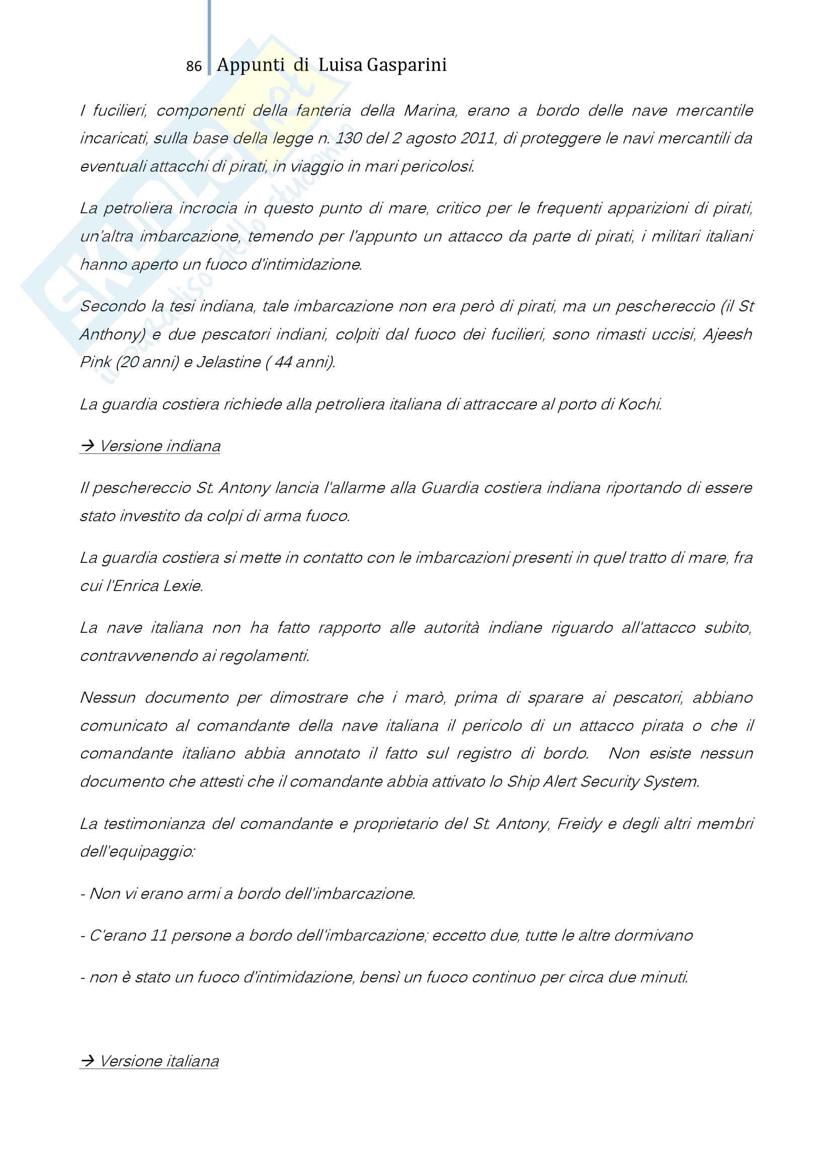 Riassunto esame Diritto internazionale, professoressa De Cesari, testo consigliato Diritto Internazionale, problemi fondamentali, Treves Pag. 86