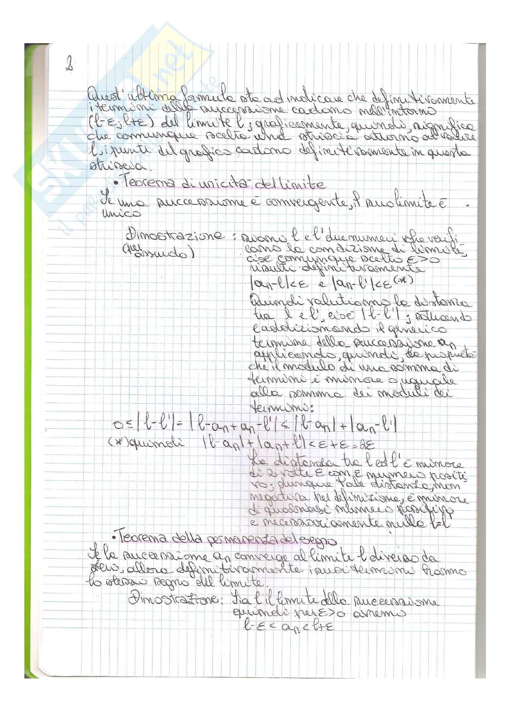 Matematica generale - teoria e compiti passati svolti Pag. 2