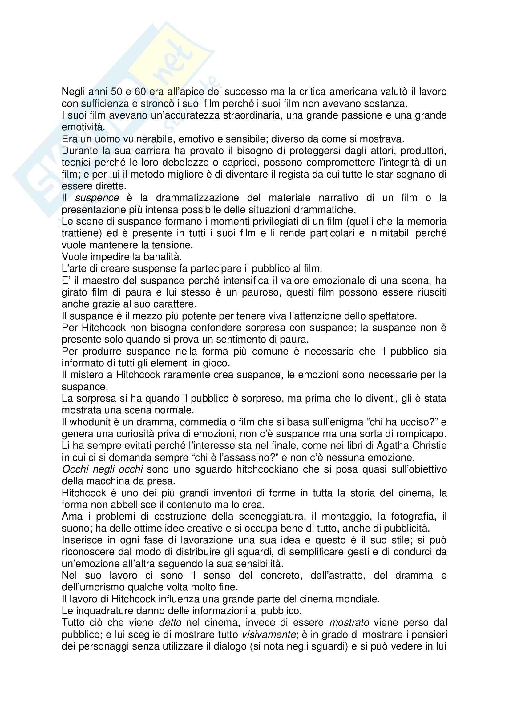 Riassunto esame Storia del cinema, prof. Carlini, libro consigliato Il Cinema Secondo Hitchcock, Truffaut
