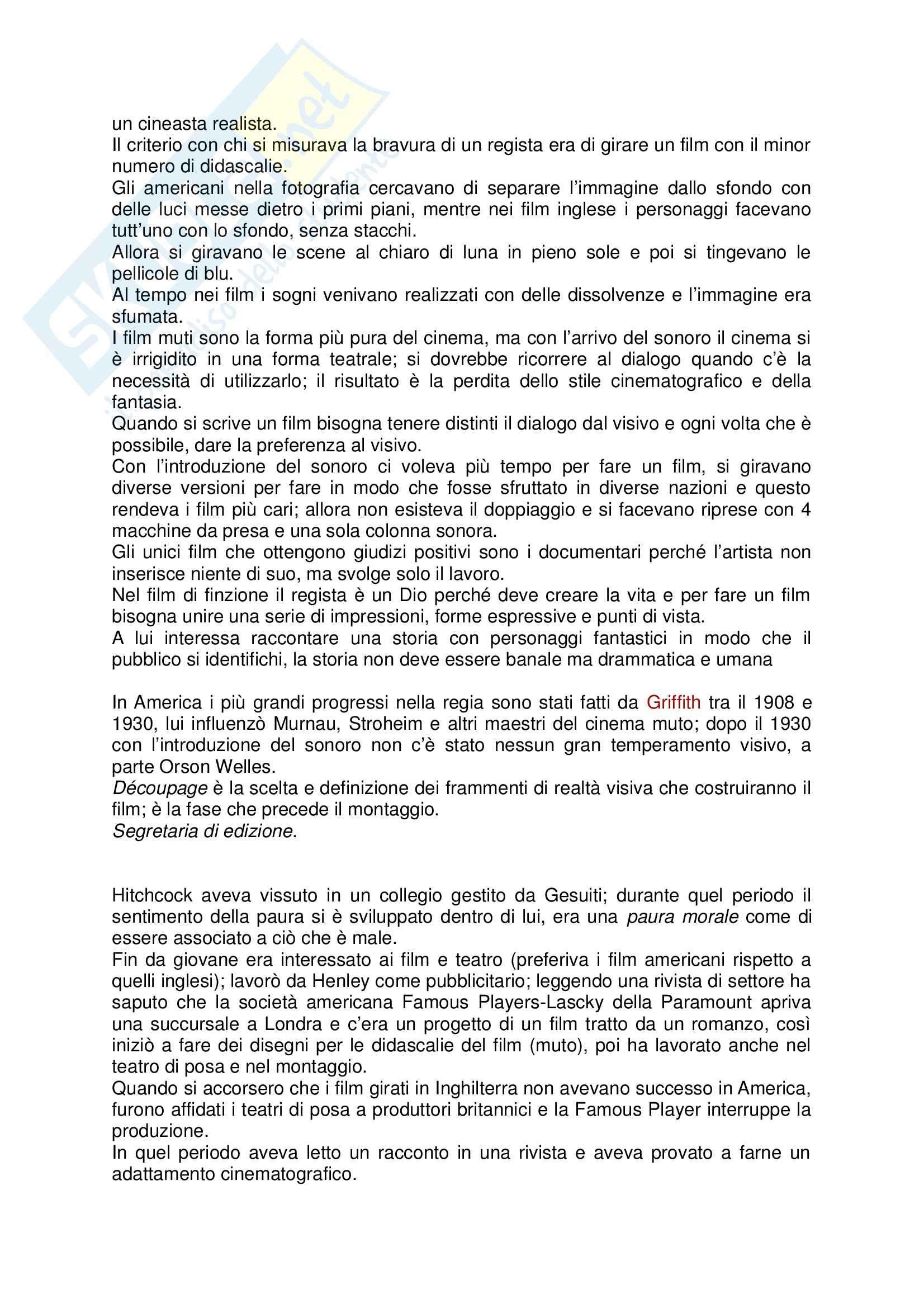 Riassunto esame Storia del cinema, prof. Carlini, libro consigliato Il Cinema Secondo Hitchcock, Truffaut Pag. 2