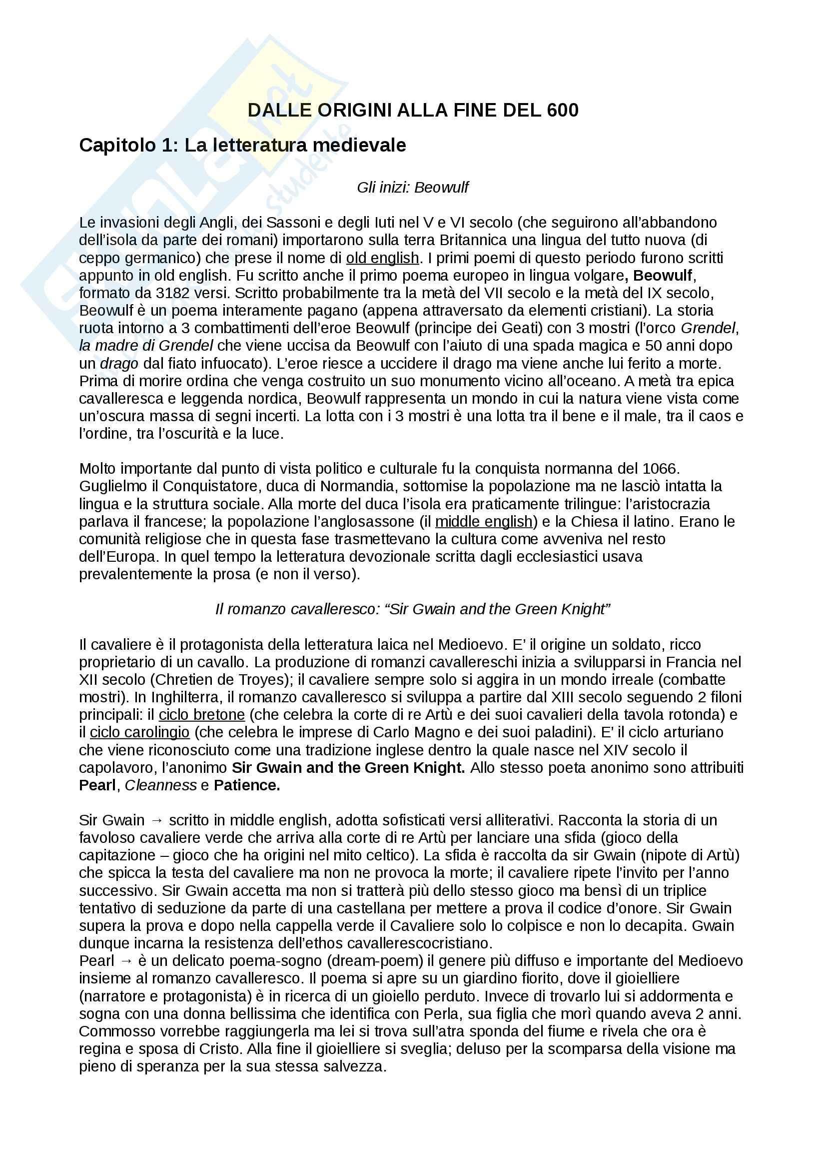 Riassunto esame Letteratura inglese, prof. De Angelis,  libro consigliato Piccola storia della letteratura inglese, vol.1, Bertinetti