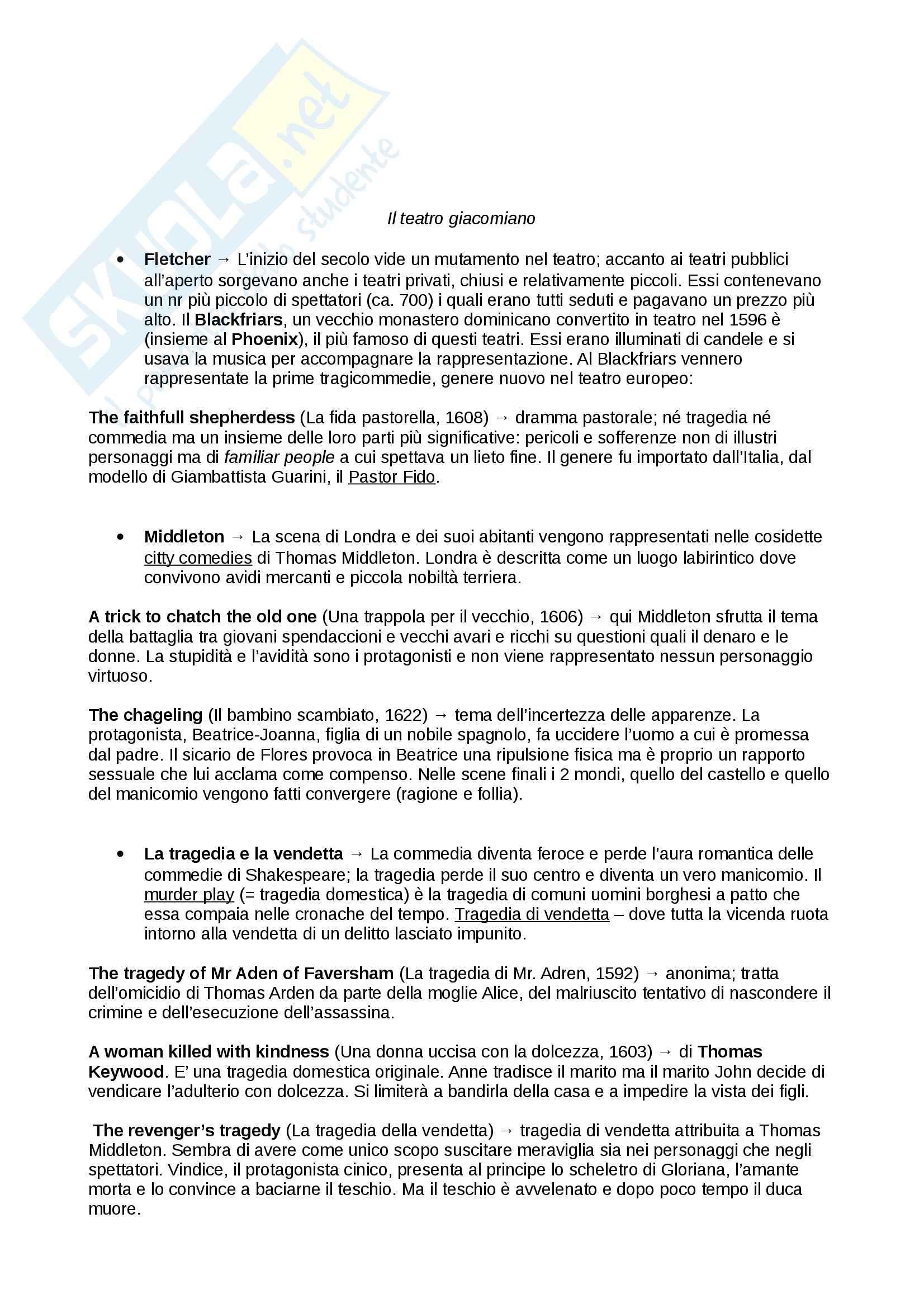 Riassunto esame Letteratura inglese, prof. De Angelis,  libro consigliato Piccola storia della letteratura inglese, vol.1, Bertinetti Pag. 11