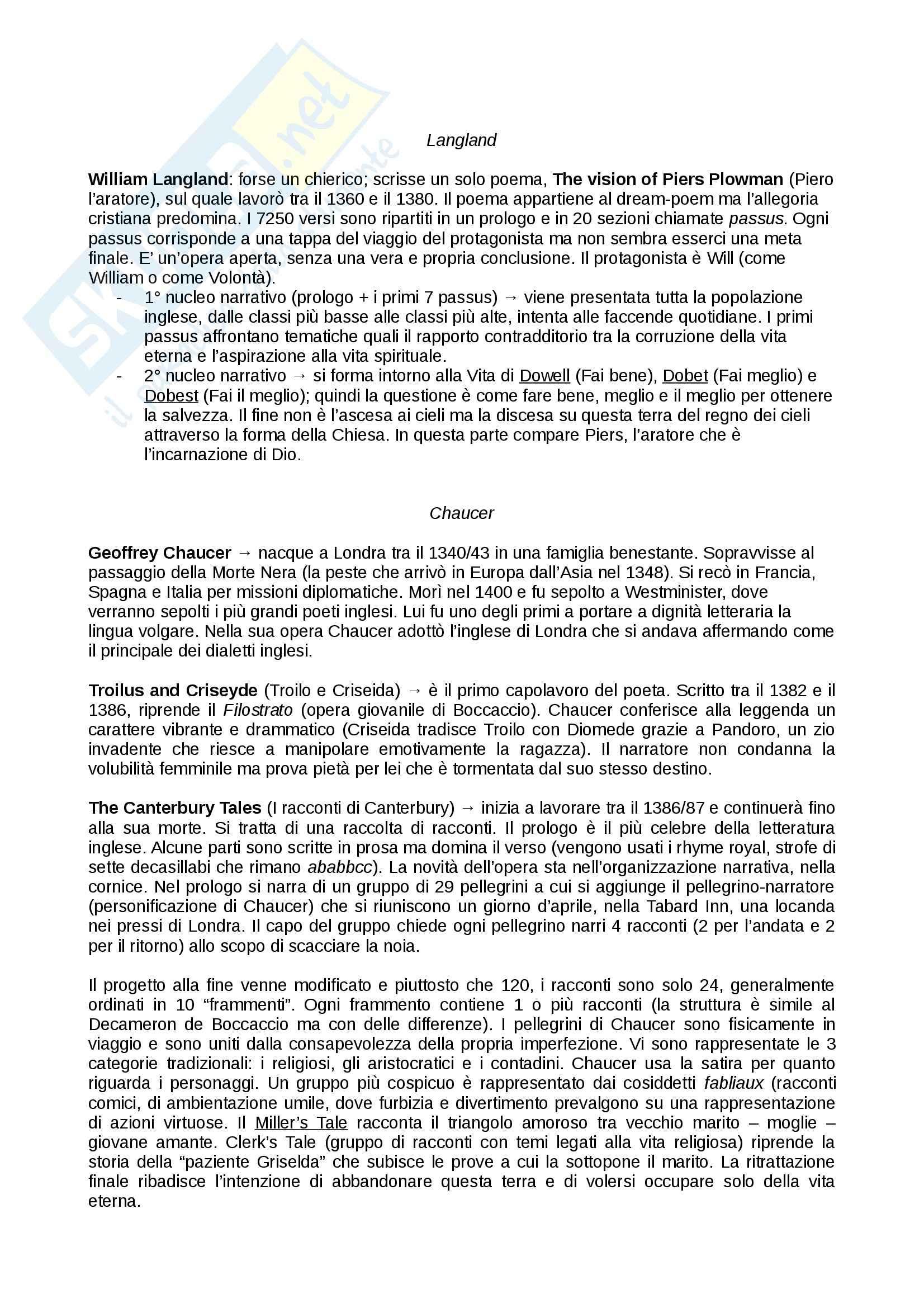 Riassunto esame Letteratura inglese, prof. De Angelis,  libro consigliato Piccola storia della letteratura inglese, vol.1, Bertinetti Pag. 2
