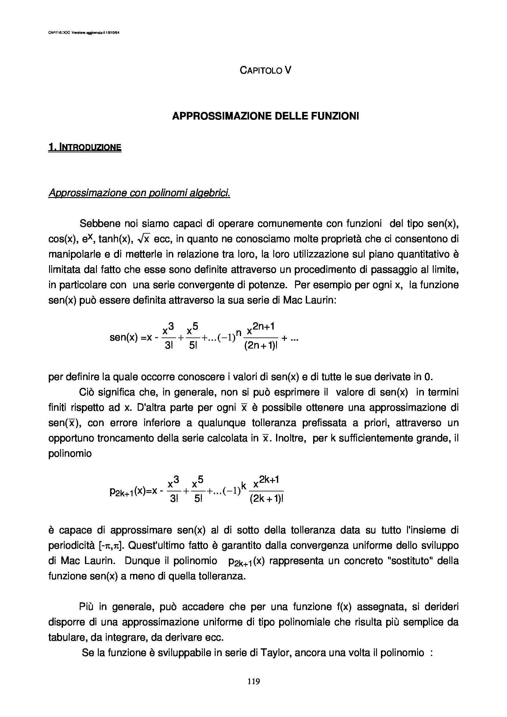 Dispensa di Matematica - Approssimazione delle funzioni