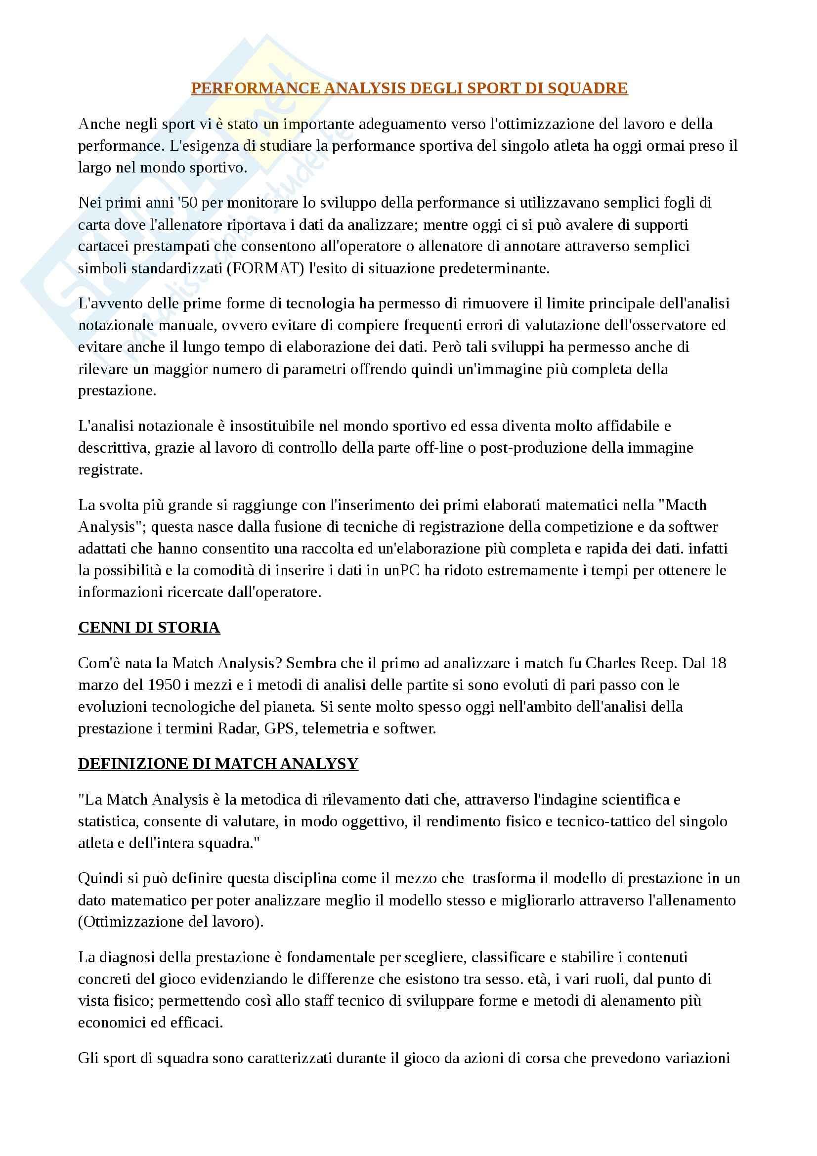 Analisi Della Performance Sportiva - Match analysis