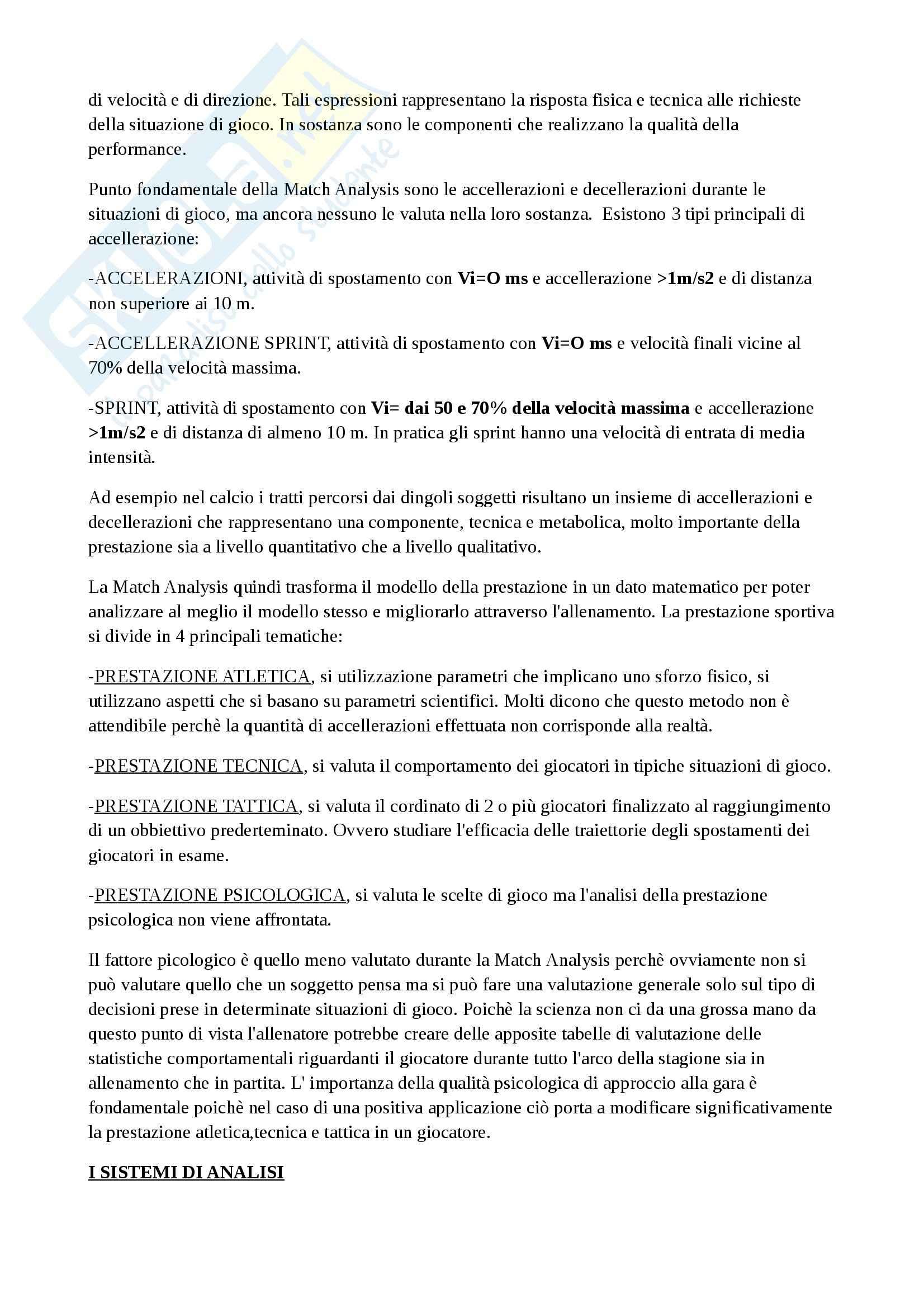 Analisi Della Performance Sportiva - Match analysis Pag. 2
