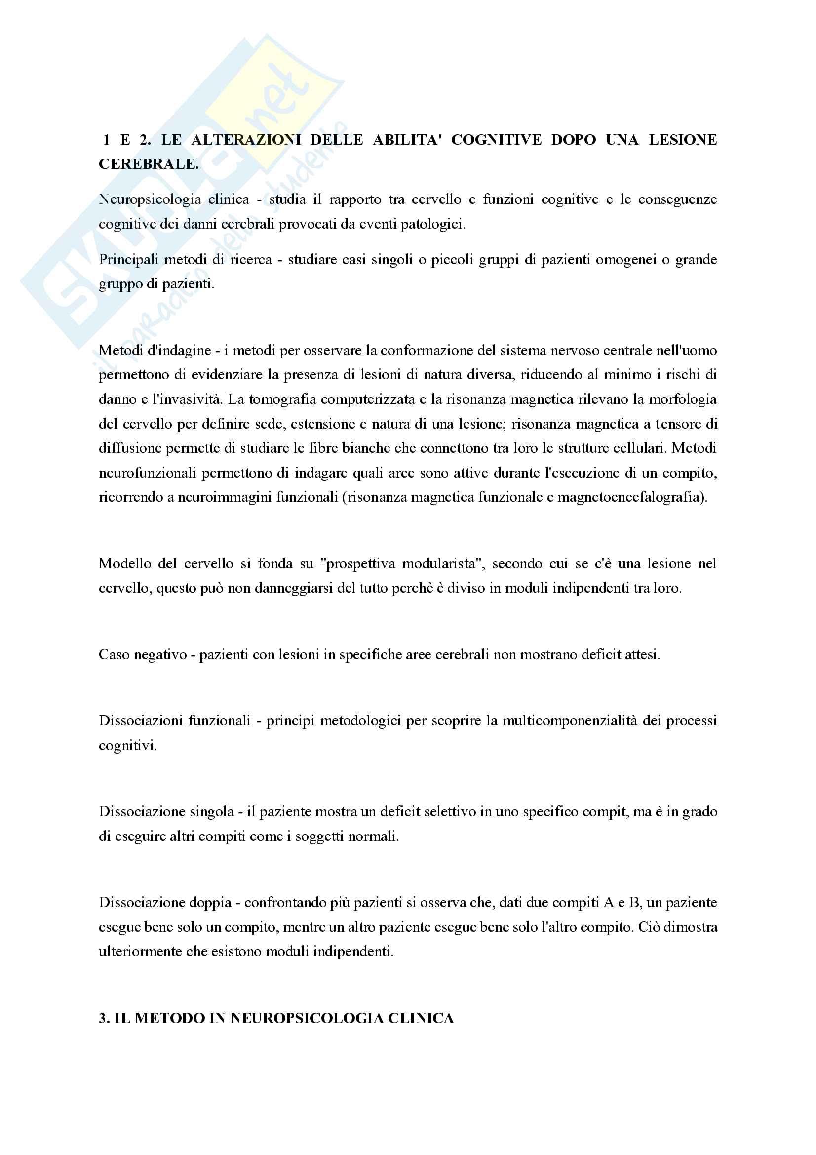 Riassunto esame Neuropsicologia clinica, prof. Conson Massimiliano, libro consigliato Lineamenti di neuropsicologia clinica, Grossi D. Trojano L