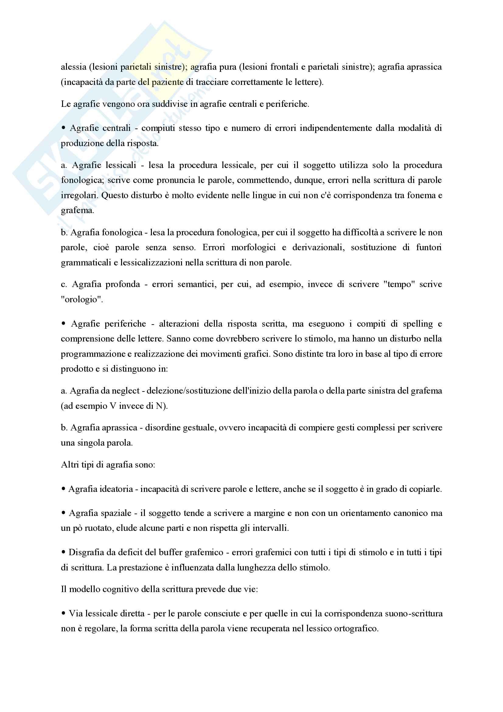 Riassunto esame Neuropsicologia clinica, prof. Conson Massimiliano, libro consigliato Lineamenti di neuropsicologia clinica, Grossi D. Trojano L Pag. 26