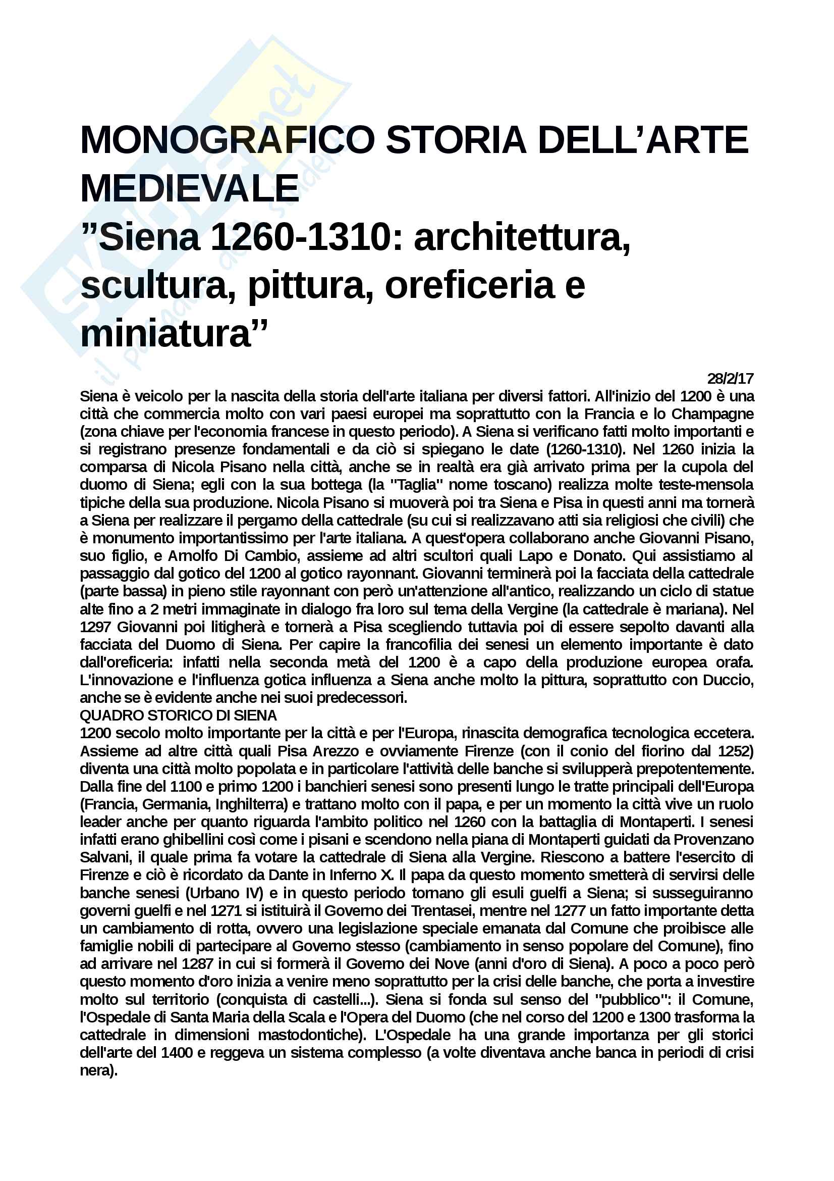 Riassunto esame Arte Medievale, prof. Buganza-Rossi, appunti personali Monografico Gotico a Siena