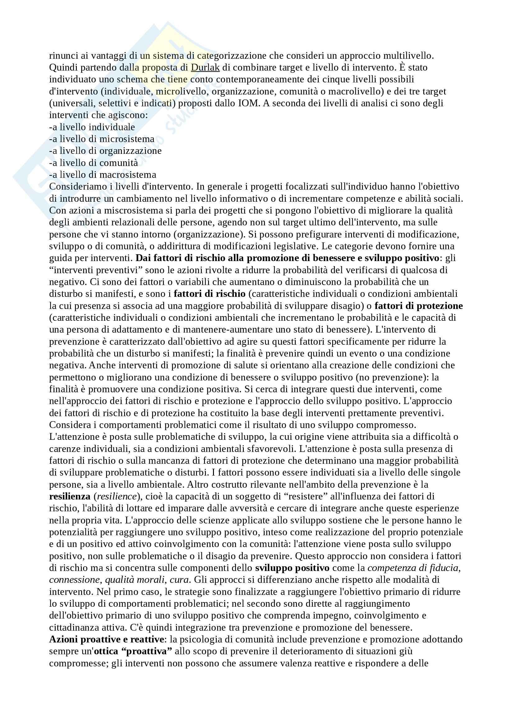 Riassunto esame Psicologia di Comunità, prof. Santinello, libro consigliato Fondamenti di psicologia di comunità, Santinello Pag. 11