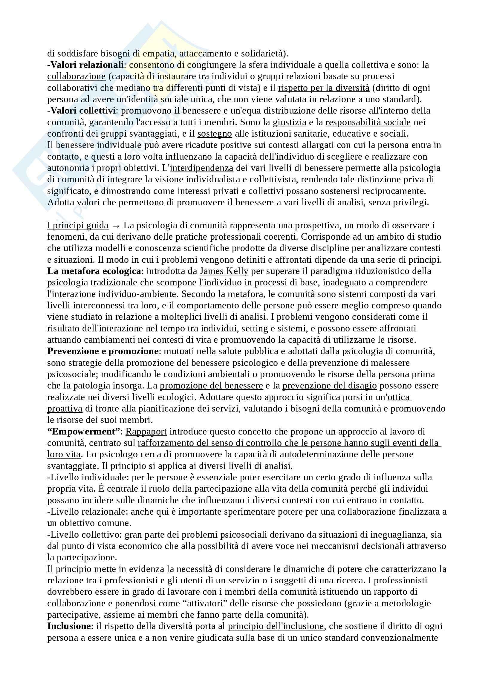 Riassunto esame Psicologia di Comunità, prof. Santinello, libro consigliato Fondamenti di psicologia di comunità, Santinello Pag. 2