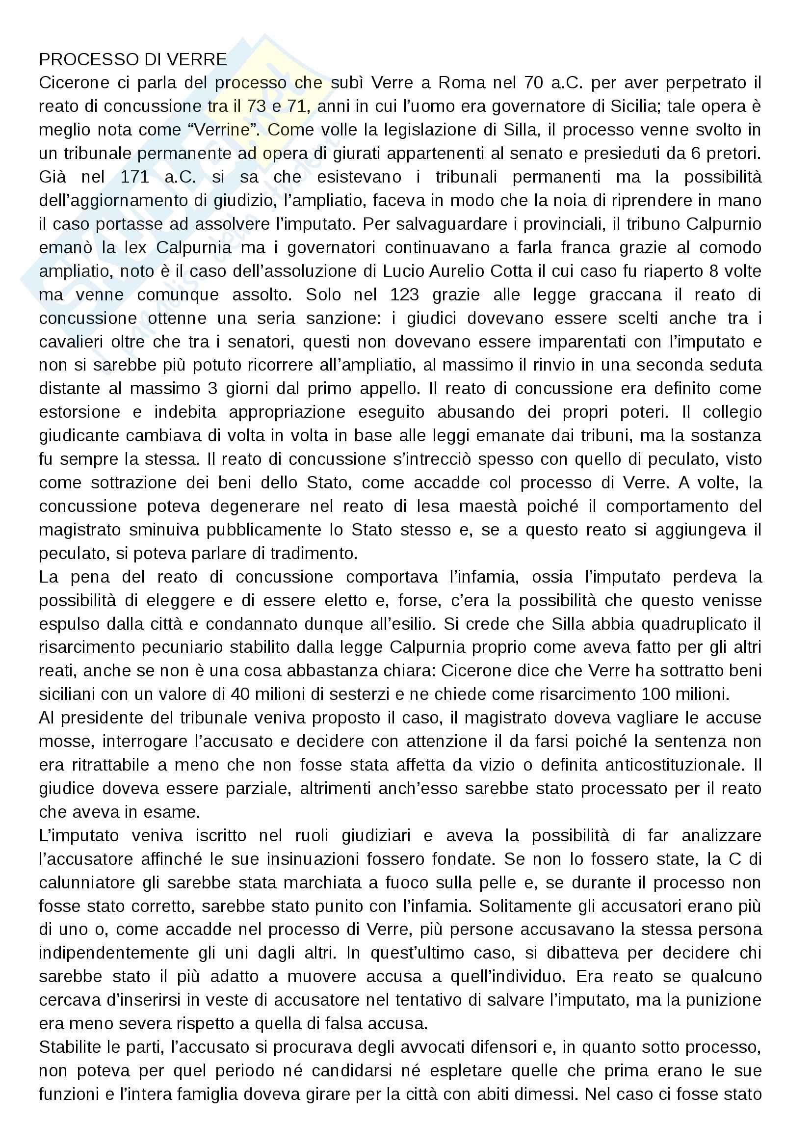 Processo di Verre, Storia romana