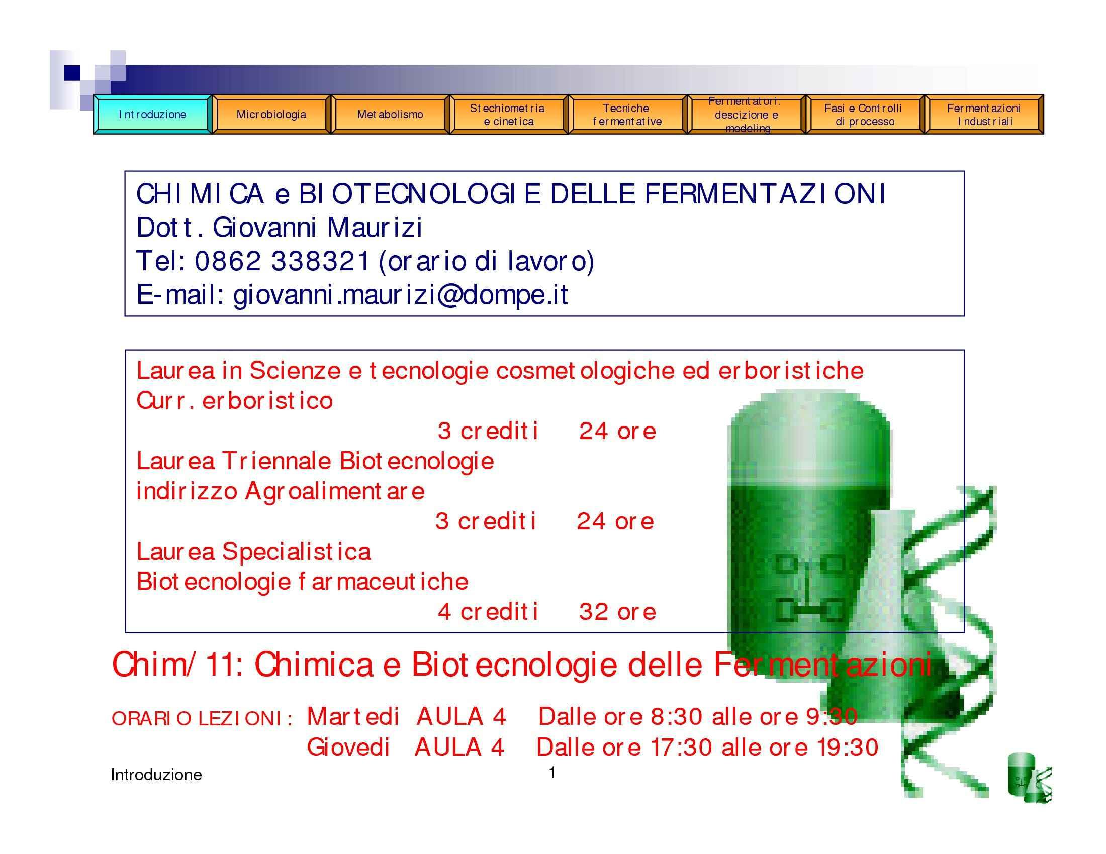 Chimica delle fermentazioni - Elementi