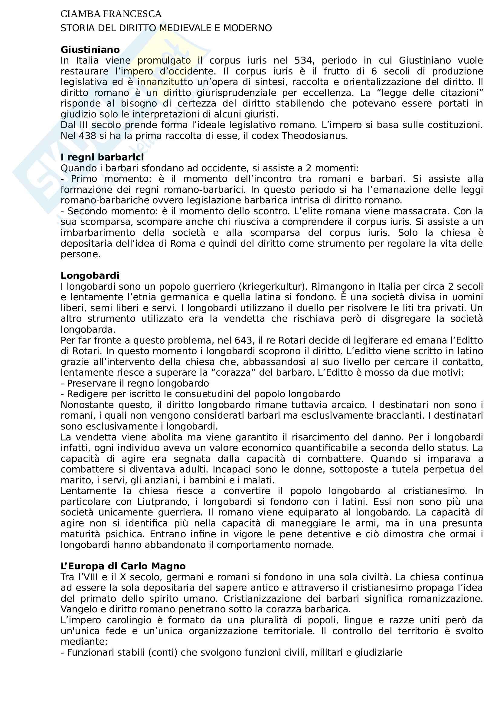 Appunti completi Storia del diritto medievale e moderno. Prof Stefano Solimano