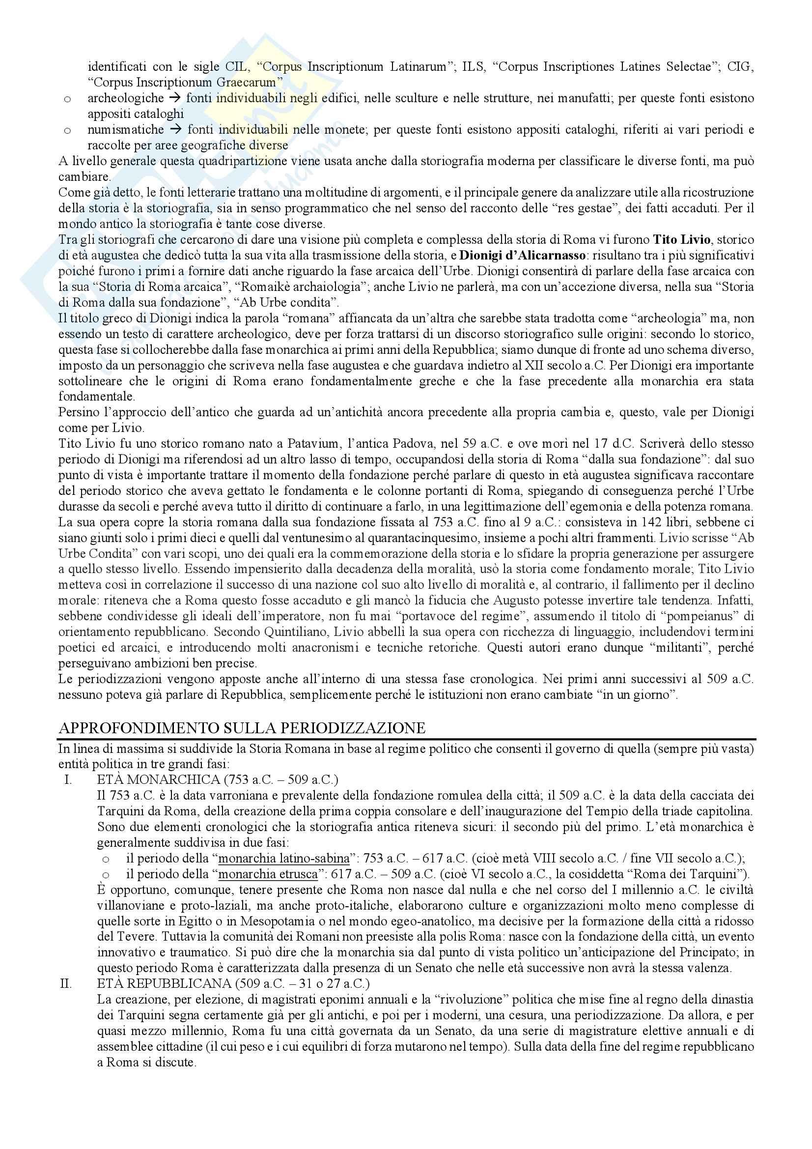 Le fonti della storia romana, storia romana Pag. 2