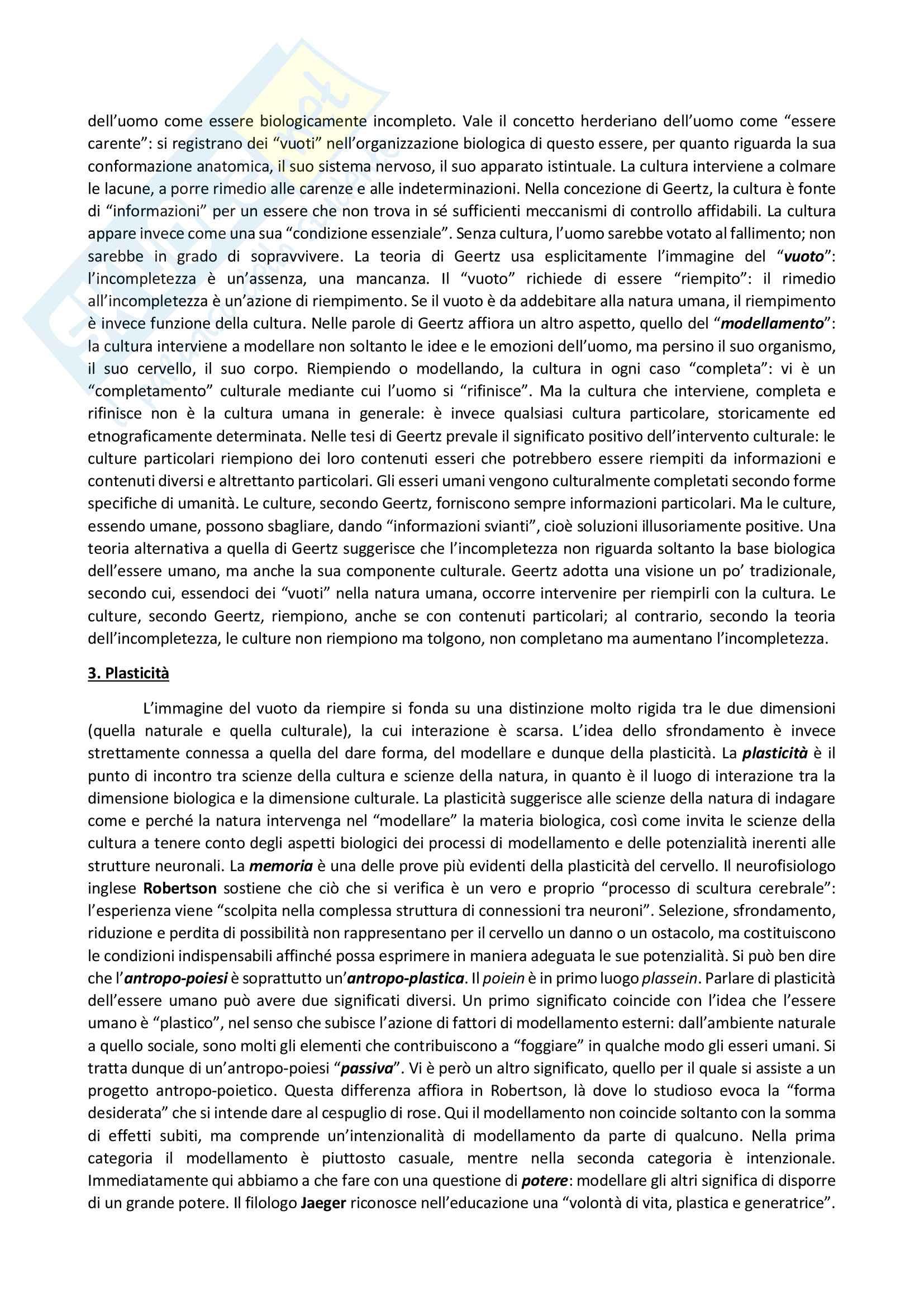 Riassunto esame Antropologia dei testi e dei contesti letterari, prof. Combi. Libro consigliato Fare umanità. I drammi dell'antropo-poiesi, F. Remotti Pag. 2