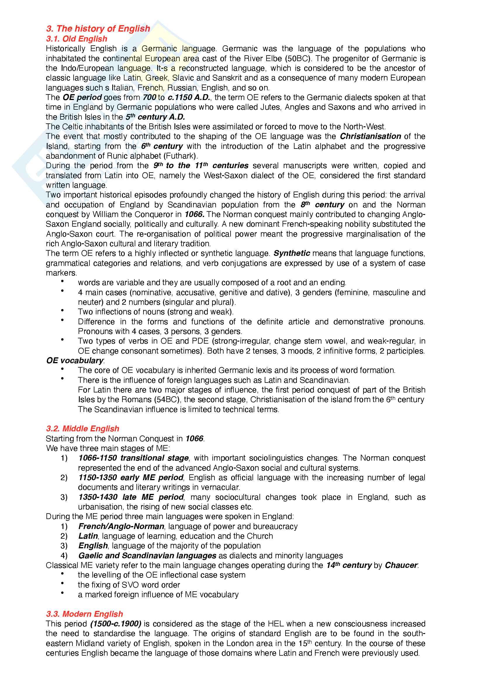 Riassunto esame Lingua inglese, prof. Mazzaferro, libro consigliato handbook of present-day English Pag. 2