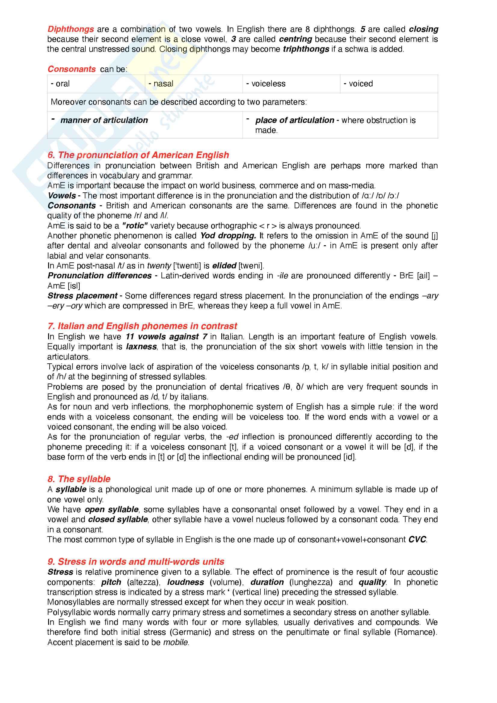 Riassunto esame Lingua inglese, prof. Mazzaferro, libro consigliato handbook of present-day English Pag. 6