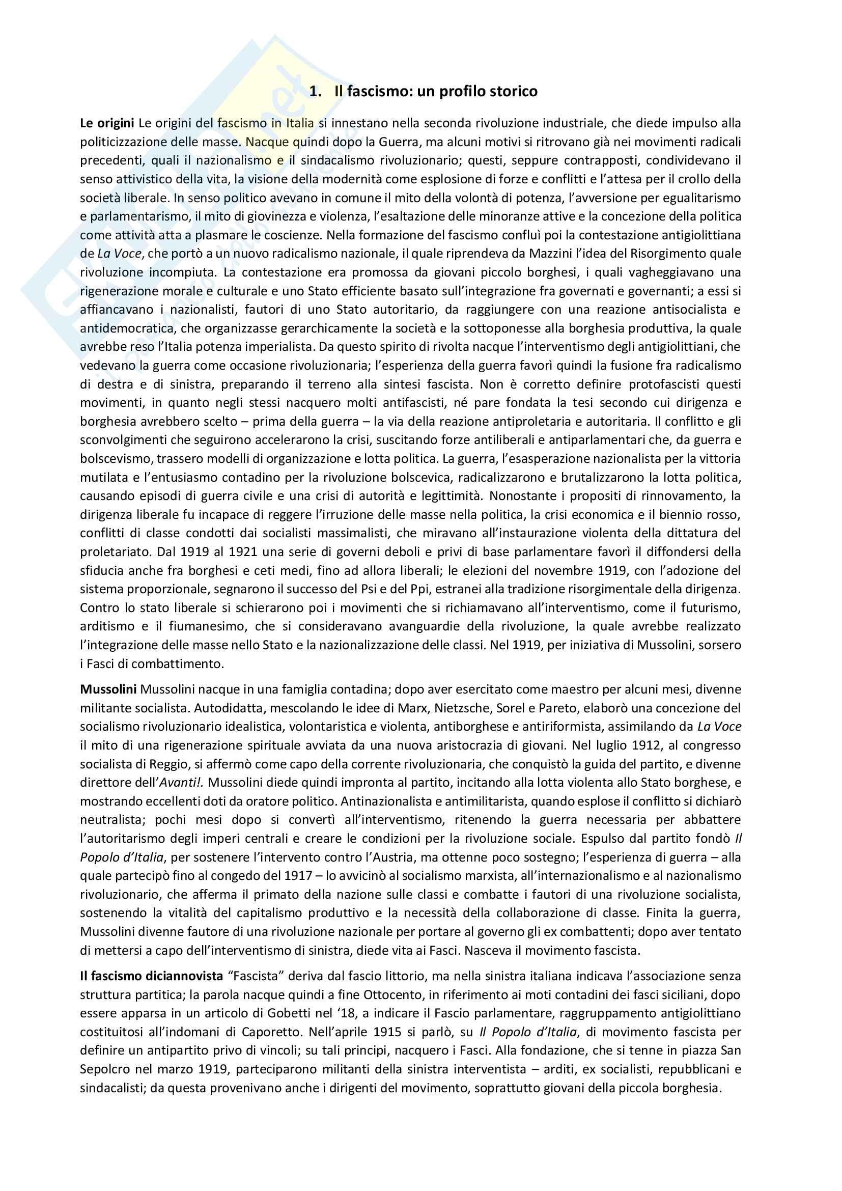 Riassunto esame Storia contemporanea, professore Atzeni, libro consigliato Fascismo - storia e intepretazione, di Emilio Gentile