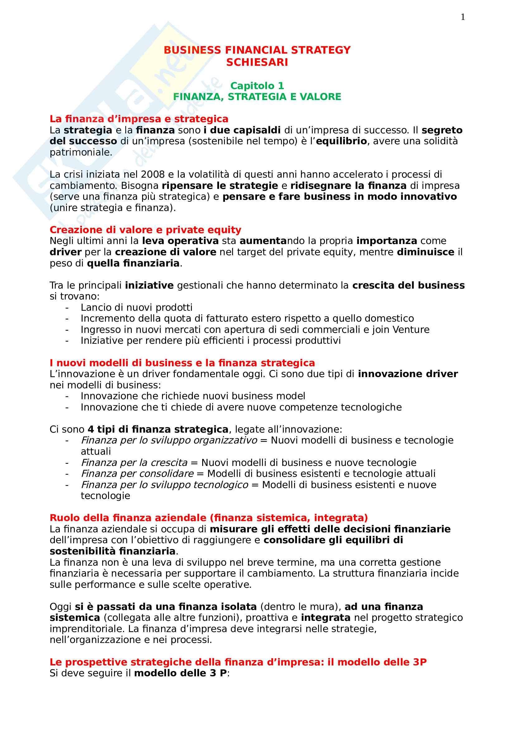 Risposte Business Financial Strategy, prof Schiesari