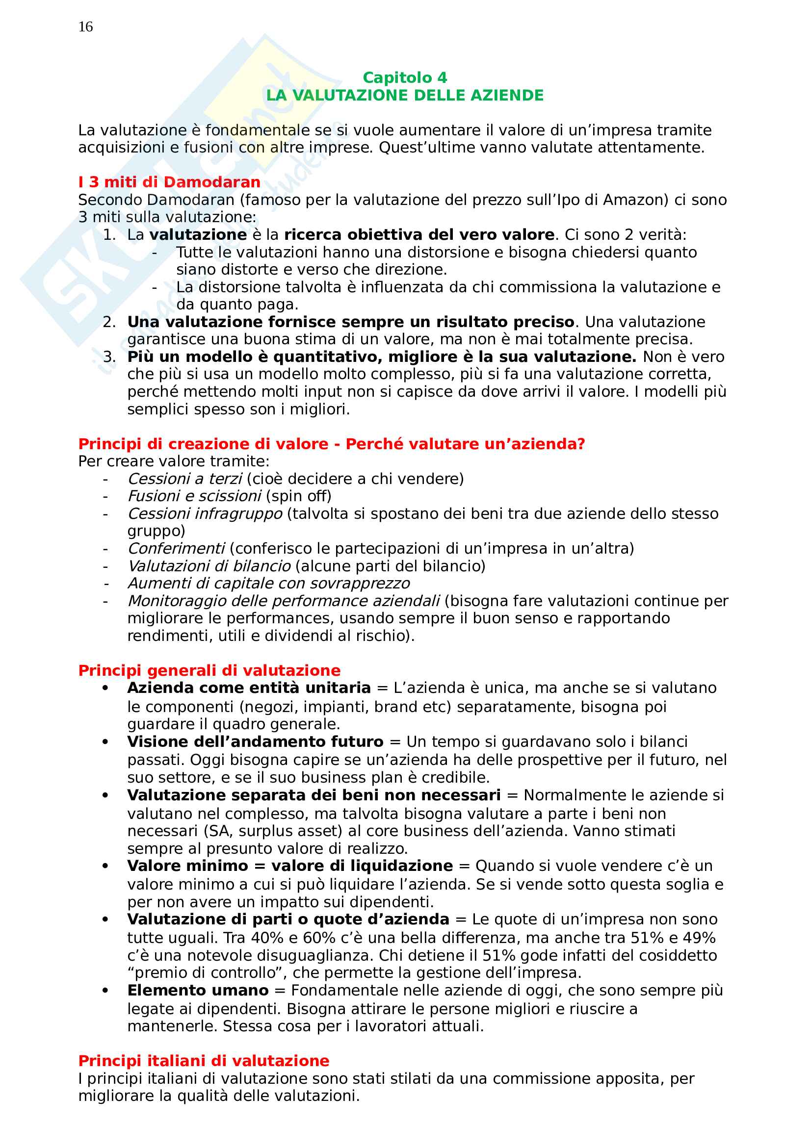 Risposte Business Financial Strategy, prof Schiesari Pag. 16