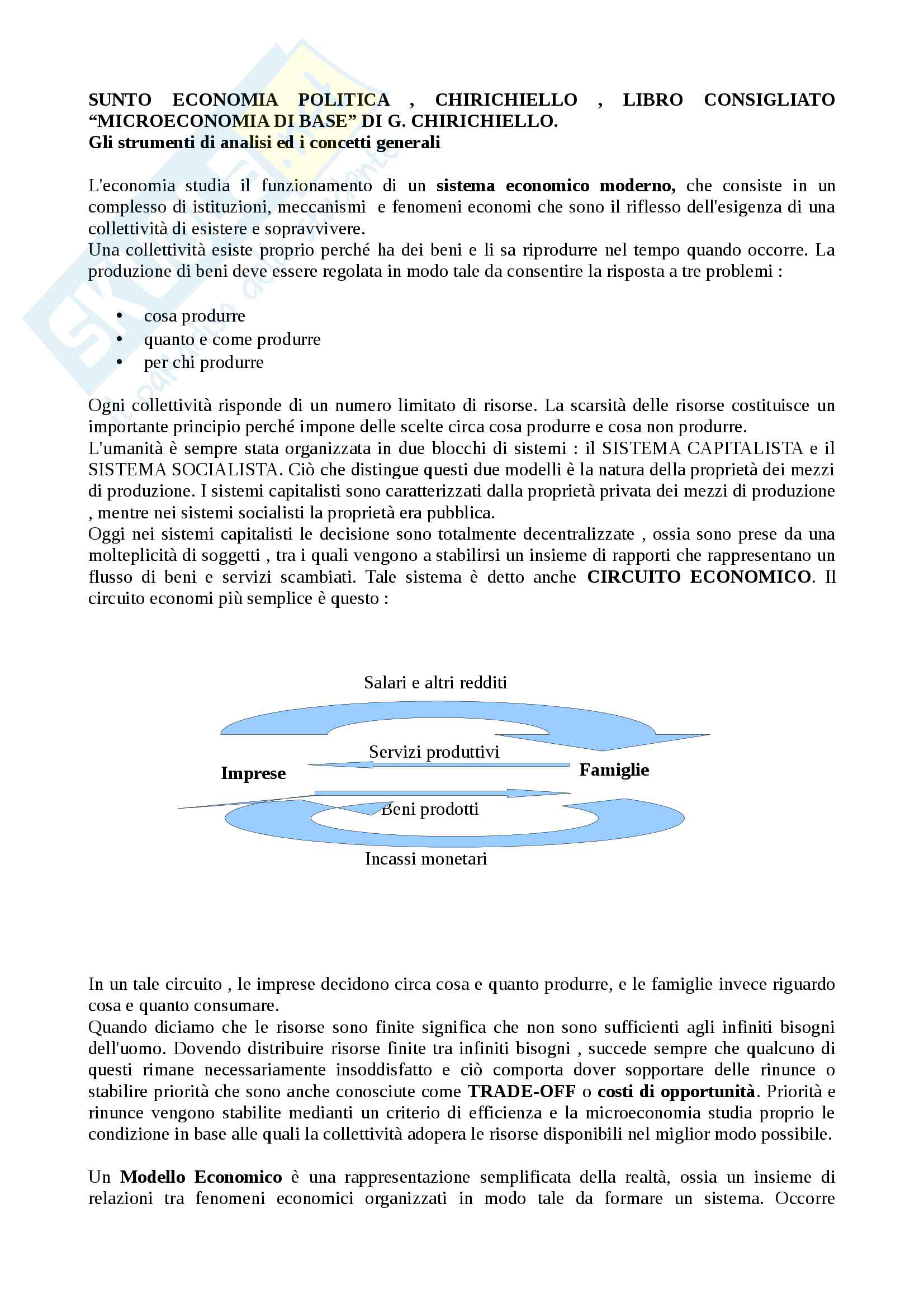 """Riassunto esame Economia politica, prof. Chirichiello, libro consigliato """"Microeconomia di base"""" di G. Chirichiello"""