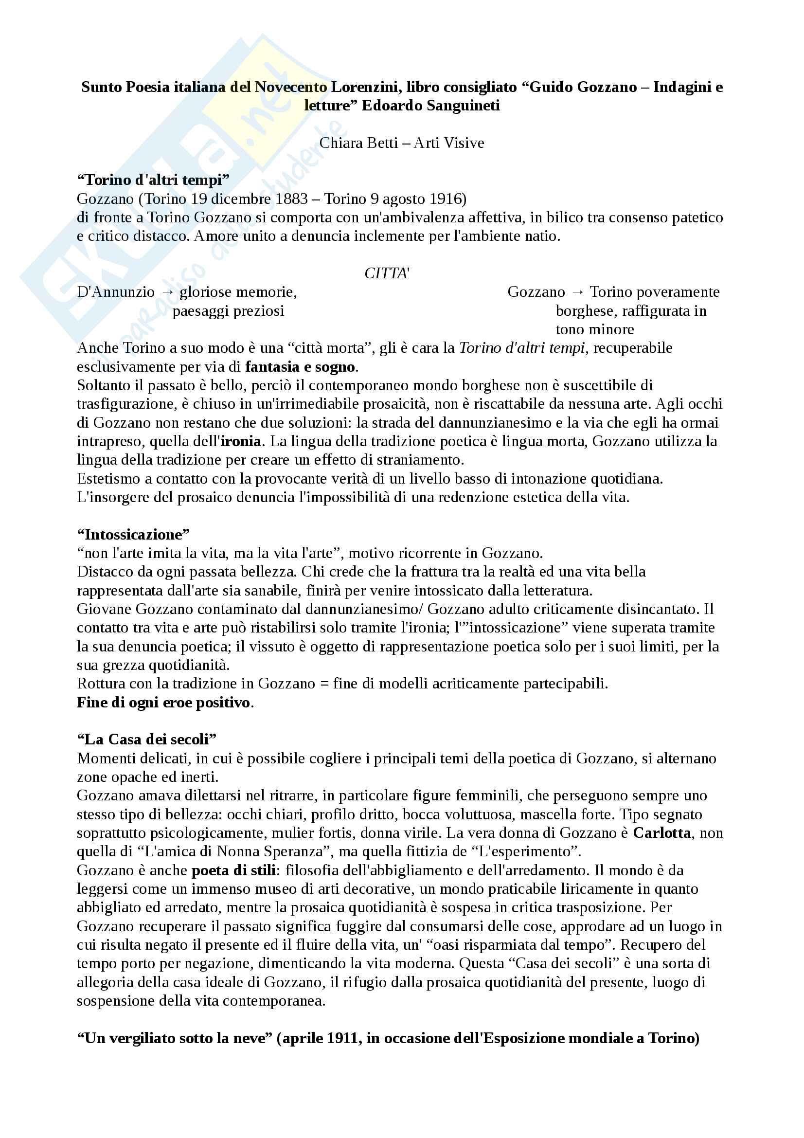"""Riassunto esame Poesia italiana del Novecento Lorenzini, libro consigliato """"Guido Gozzano"""" Sanguineti"""