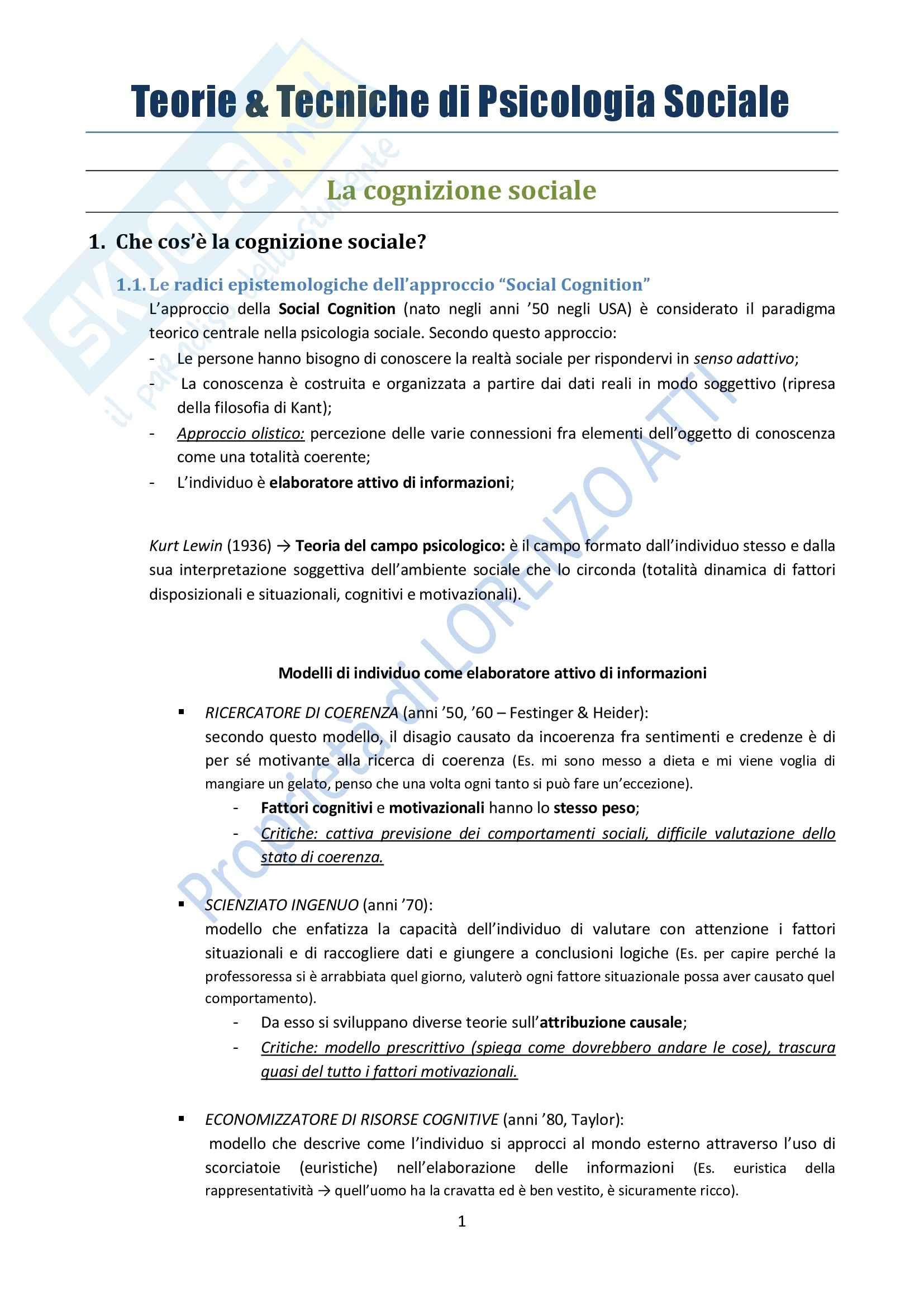 Riassunto esame Psicologia, prof. Rubini, libro consigliato Manuale di Psicologia Sociale, Palmonari, Cavazza, Rubini