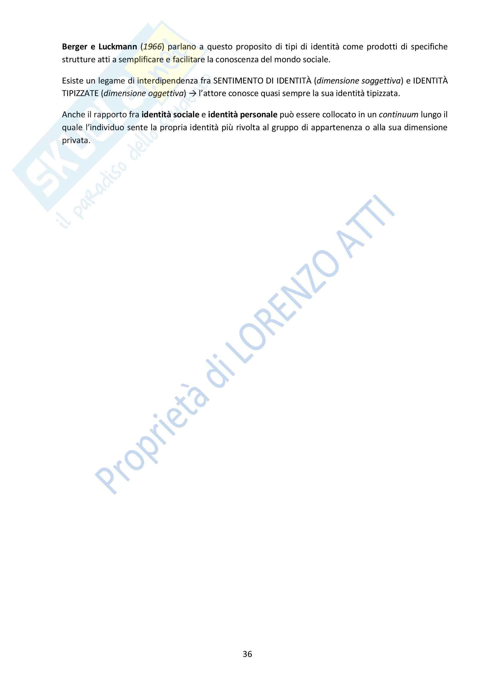 Riassunto esame Psicologia, prof. Rubini, libro consigliato Manuale di Psicologia Sociale, Palmonari, Cavazza, Rubini Pag. 36