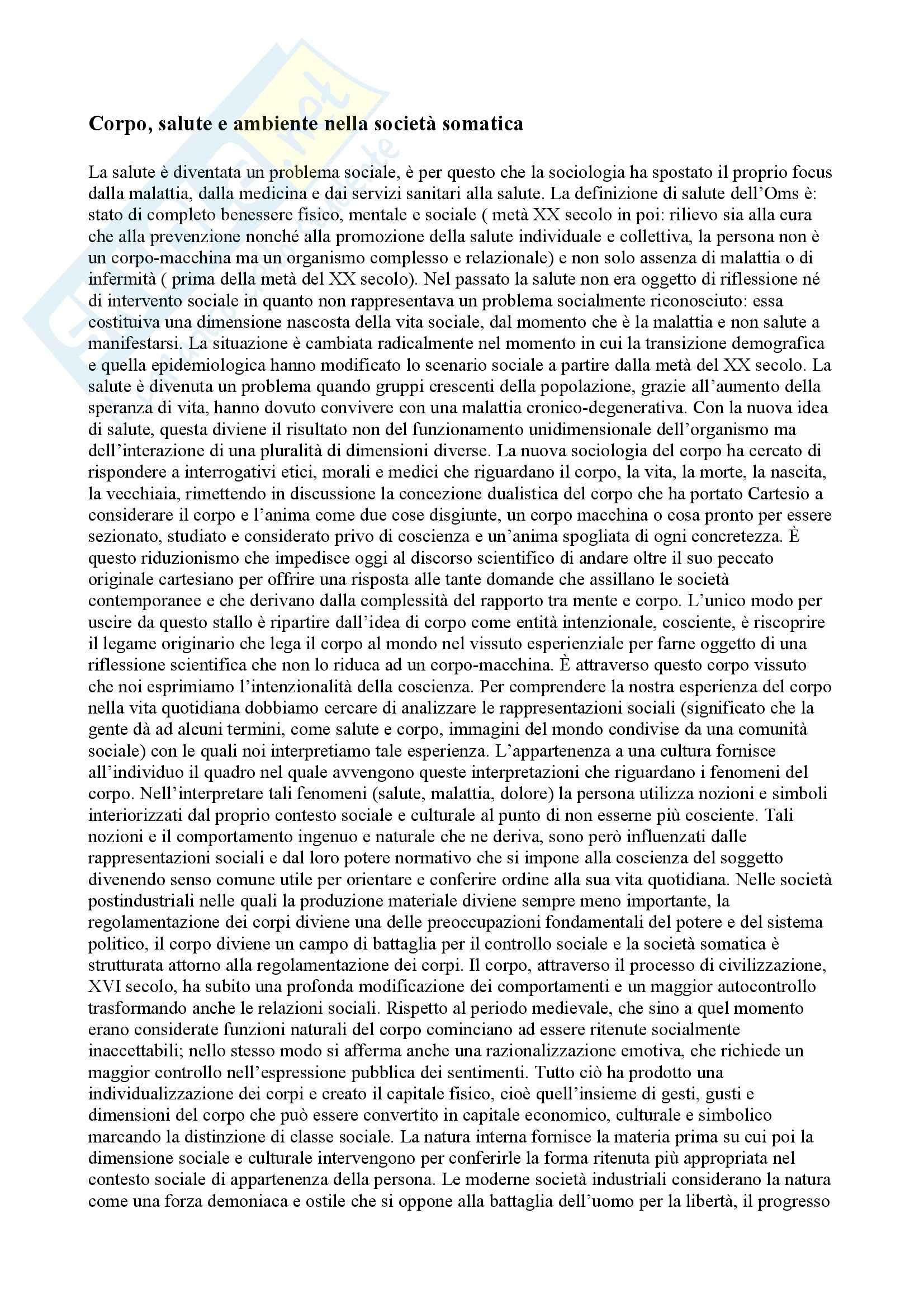 appunto G. Vicarelli Sociologia della salute e della medicina