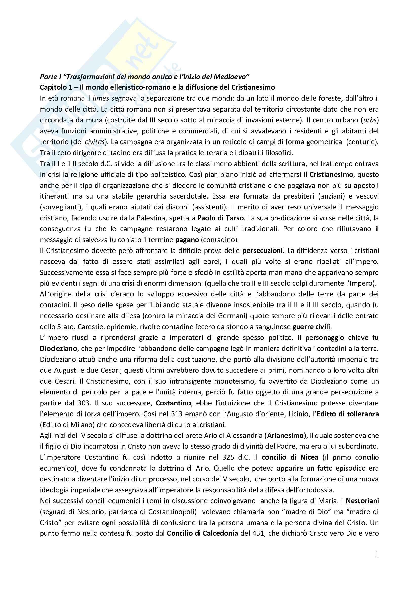 Riassunto esame Storia medievale, prof. Paciocco, libro consigliato Medioevo, I caratteri originali di un'età di transizione, Vitolo