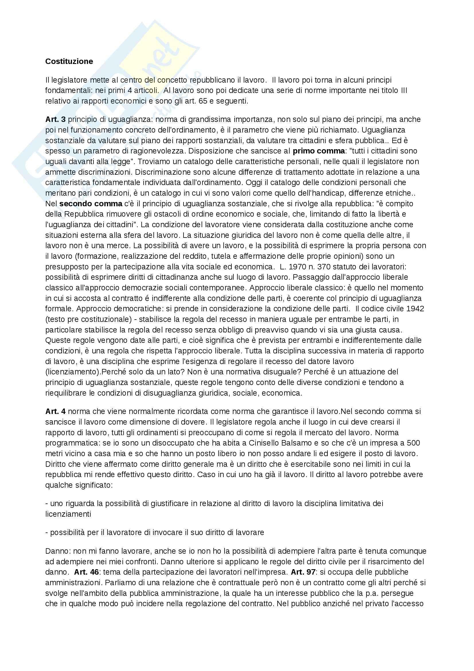 Diritto del lavoro - principi costituzionali