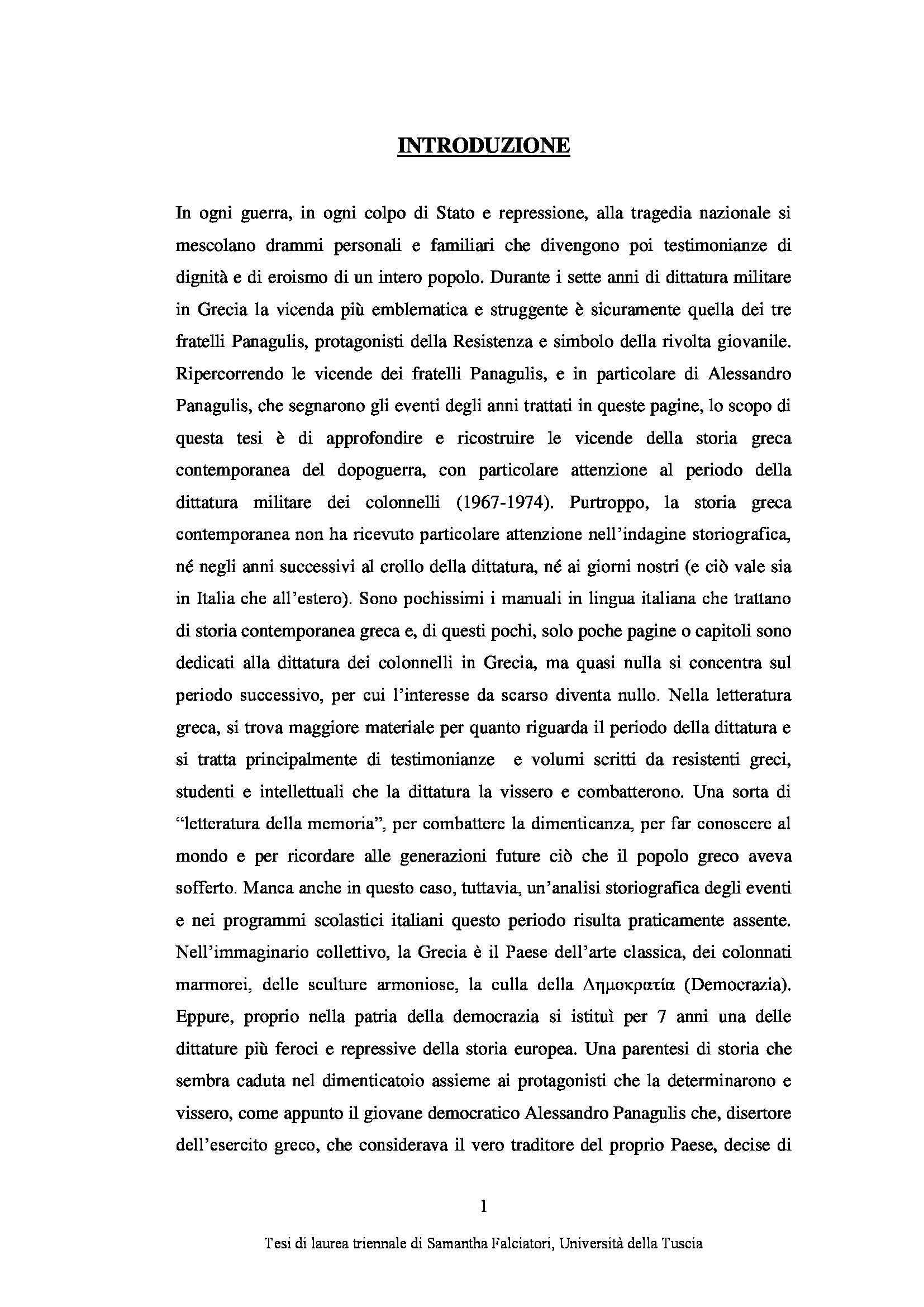 Tesi triennale - Alessandro Panagulis Pag. 6