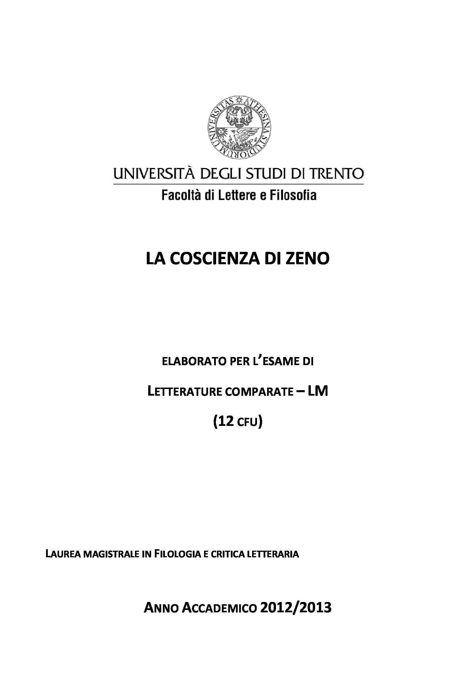 La Coscienza di Zeno, Svevo - Appunti