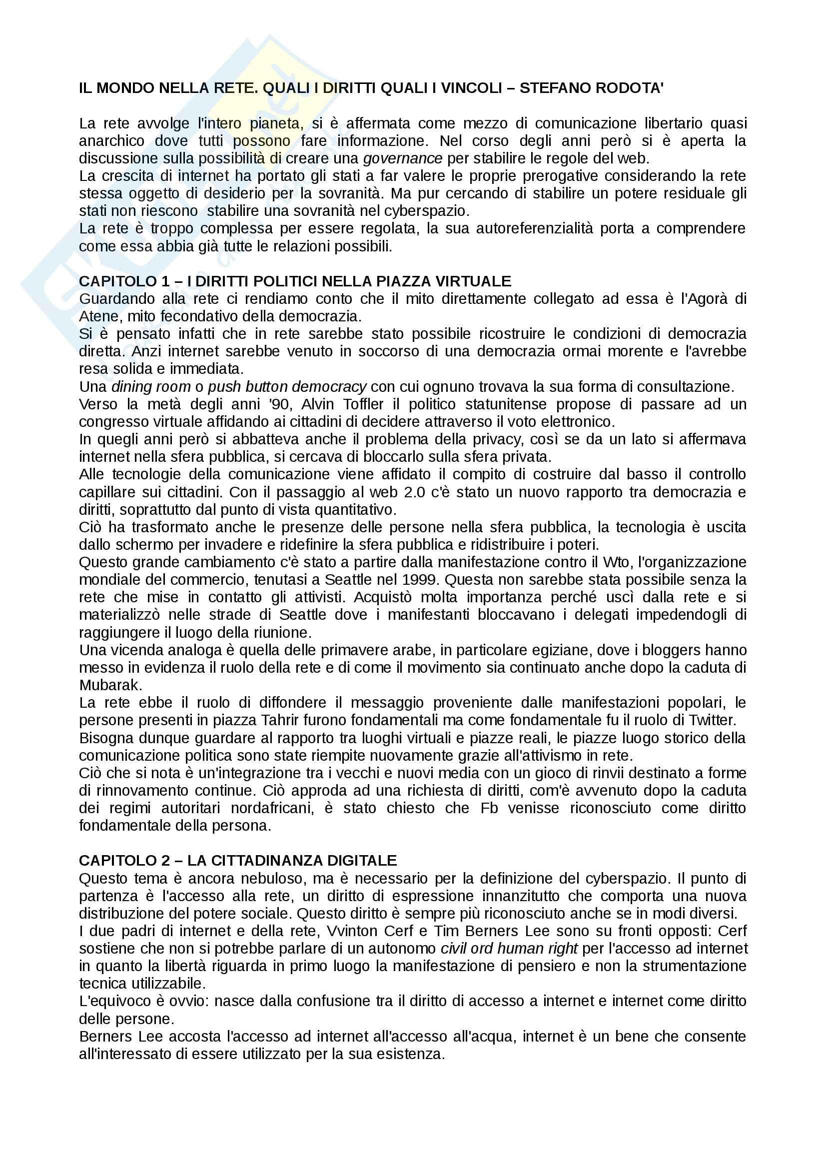Riassunto esame Giornalismo, prof. Bianca, libro consigliato Il mondo nella rete, Rodotà