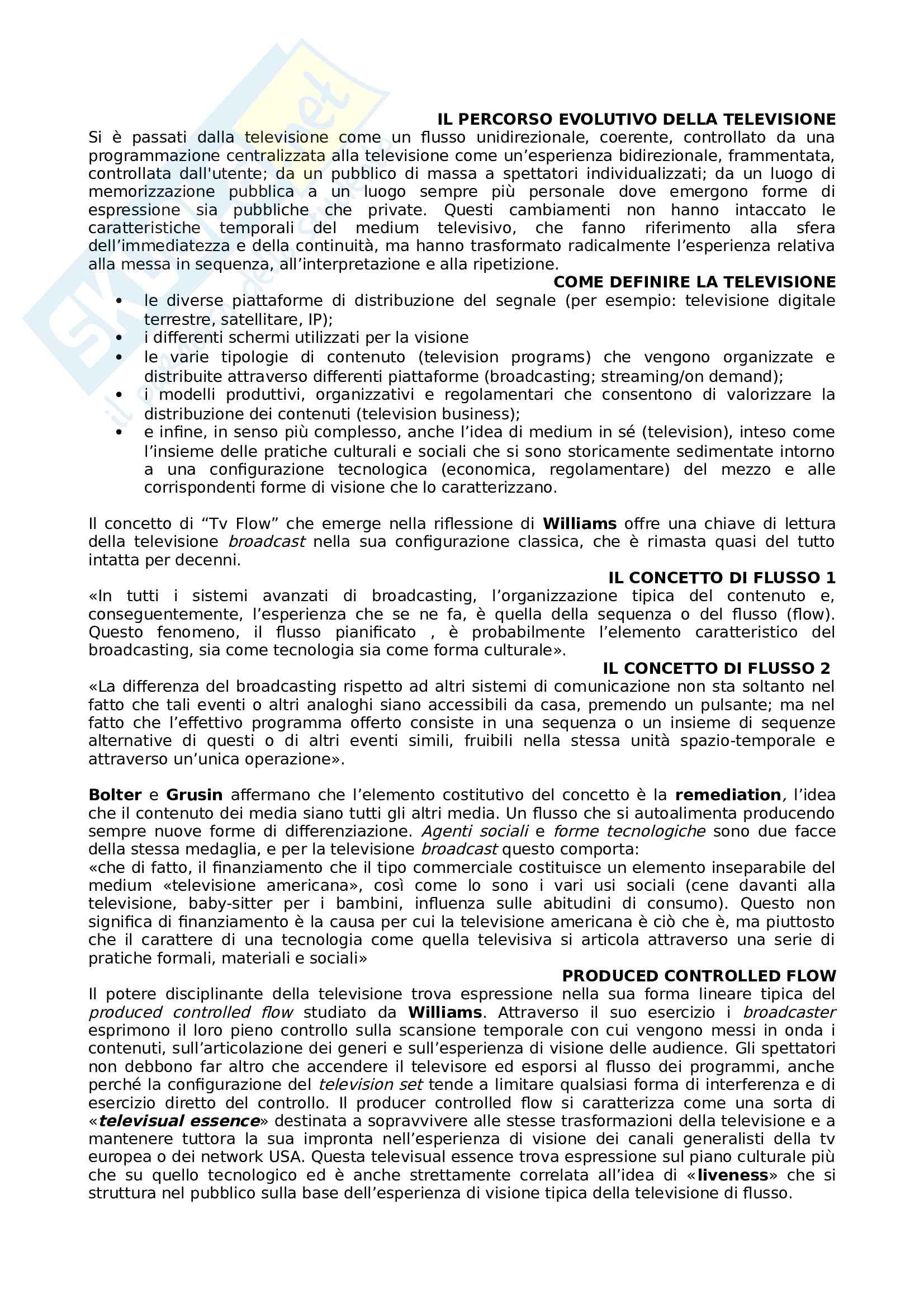 Riassunto esame Teorie della Comunicazione e dei nuovi media, prof Marinelli, libro consigliato Television(s) Edizione breve