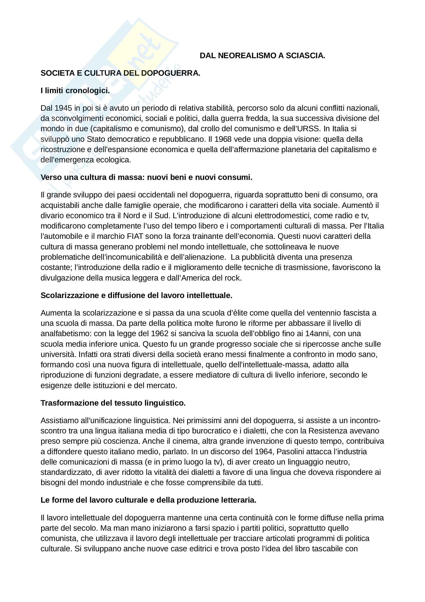 Riassunto esame Letteratura Italiana Contemporanea, prof. Frabotta, libro consigliato Storia e Testi della Letteratura Italiana, Ferroni Pag. 1